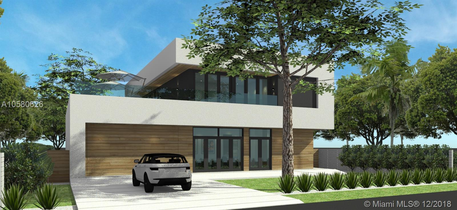 """A brand new architectural masterpiece in the heart of High Pines, one of the most desirable neighborhood in South florida. Designed by well known architect Scott Tao. This 6,500 + sqft, 5 Bedrooms, 5.5 Baths, Full Laundry, Ample Storage, Great outdoor Terrace 850sqft, Ground Floor Covered Terrace.650 sqft. This custom Mansion offers a massive open layout, 12"""" foot hight ceiling, gourmet kitchen to mentioned a few. Endless details throughout this tropical Modern home. Turn key with StudioKaza Design!!  A must see it."""