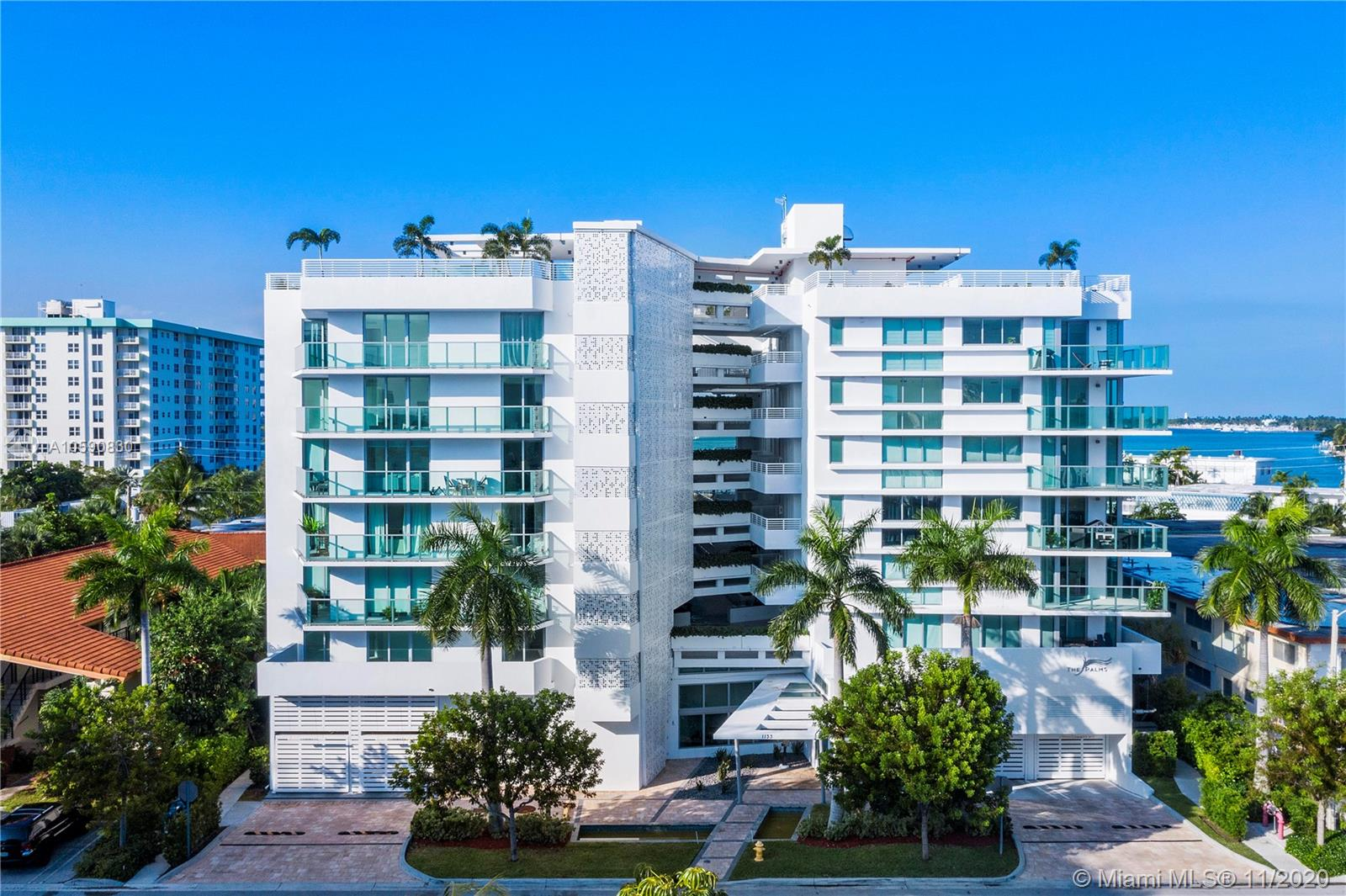 Brand new boutique style building in Bay Harbor Islands. Unit has 2 bedrooms and 2 bathrooms. Offers stainless steel appliances, tile throughout, washer and dryer inside, impact windows and wine cooler. Gorgeous views from the rooftop infinity pool and hot tub. Unit comes with 2 parking spaces (#79, #80). Walking distance to shopping, places of worship, and A+ Bay Harbor K-8 Education Center. Great for investment opportunity. Unit is currently rented through January 31, 2021 at $2,800 per Month. 24 hour notice needed for showing. Private rooftop terrace with electric grill and sink included with the purchase of this unit.