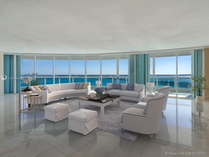 "Direct Biscayne Bay views from sought after ""01"" line in Ugo Colombo's boutique Bristol Tower. Private foyer elevator opens to over 3,000 sf of expansive interior space with ample rooms, floor to ceiling windows with new blinds in living areas and marble floors throughout. Snaidero cabinets and new granite counter tops in the kitchen that opens to a spacious & a nearly 1,000 sf wrap-around terrace w/ views to the Atlantic Ocean, Biscayne Bay and So. Beach. Direct access to terrace from every bedroom, living/dining/family great room. Large laundry area & separate den/office. Pool/Jacuzzi, BBQ and Bar area, new gym & spa, Children play rm, Lighted tennis court, Market/cafe, valet parking + 2 covered parking spaces & storage unit."