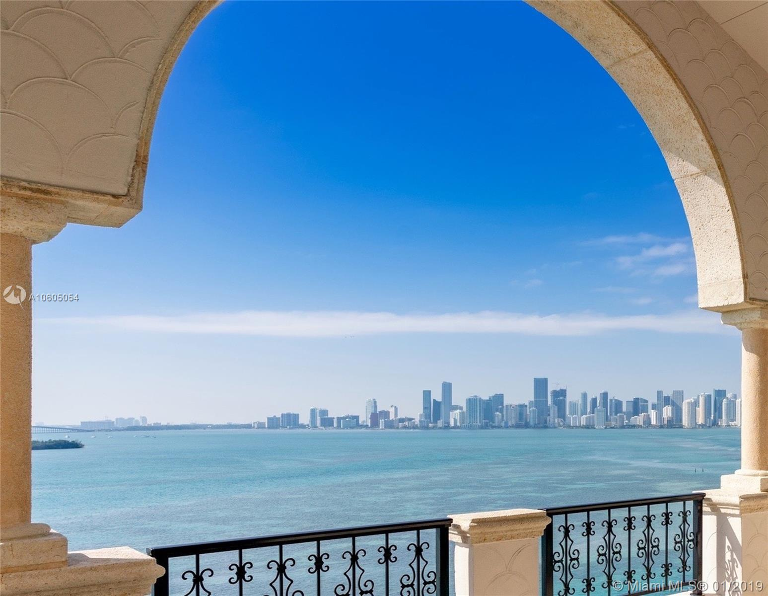 Largest unit available on Fisher Island made up of 9,570 interior sq ft. Sweeping open bay views outlined by the iconic Miami skyline on one side and natural beautiful green views of Virginia Key on the other. This PH residence recently underwent a total 3 yr renovation led by designer Marc-Michaels Interior Design. 5/5/1 with generous living space perfect for your private enjoyment and/or for entertainment. Features include: high ceilings throughout, Crestron system with security cameras, fully equipped Downsview kitchen, Tishler impact doors, 2 washer and dryer set, separate duo bath and independent staff apartment. Amenities include: private island dining, golf, tennis, spa, marina, private beach, Fisher Island Day School. 5 parking spaces , 2 golf cart spaces