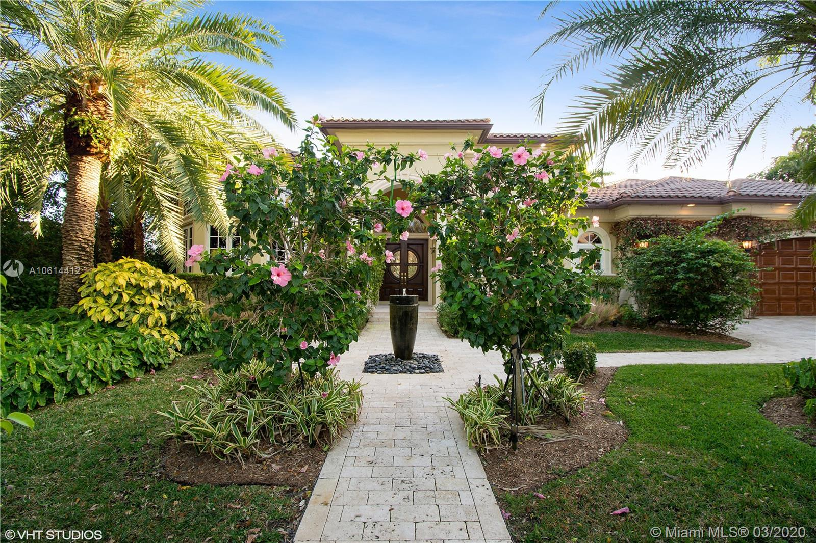 Most perfect floor plan. Rare one-story for such a large lot. Manicured hedges, Royal and Date palms... Built to highest quality and emanates Palm Beach elegance and warmth. Built and designer decorated with attention to every detail. 4 Bdrms plus an office. Built in 2002. Walls of Impact Glass invite you to the beautiful outdoor living area, extensive covered areas, pool w/heated spa, canal is 120' and ICW views from backyard. Master suite and handsome office to one side and 3-guest bedrooms to the right of the home. 13' and 15' ceilings, finest quality finishes, millwork, crown molding and craftsmanship. Saturnia marble floors throughout, propane gas, Thermador appliances. 100x125 lot. Third from the point and desirable South exposure. Dock accommodates up to 80' boat. Gently lived in.