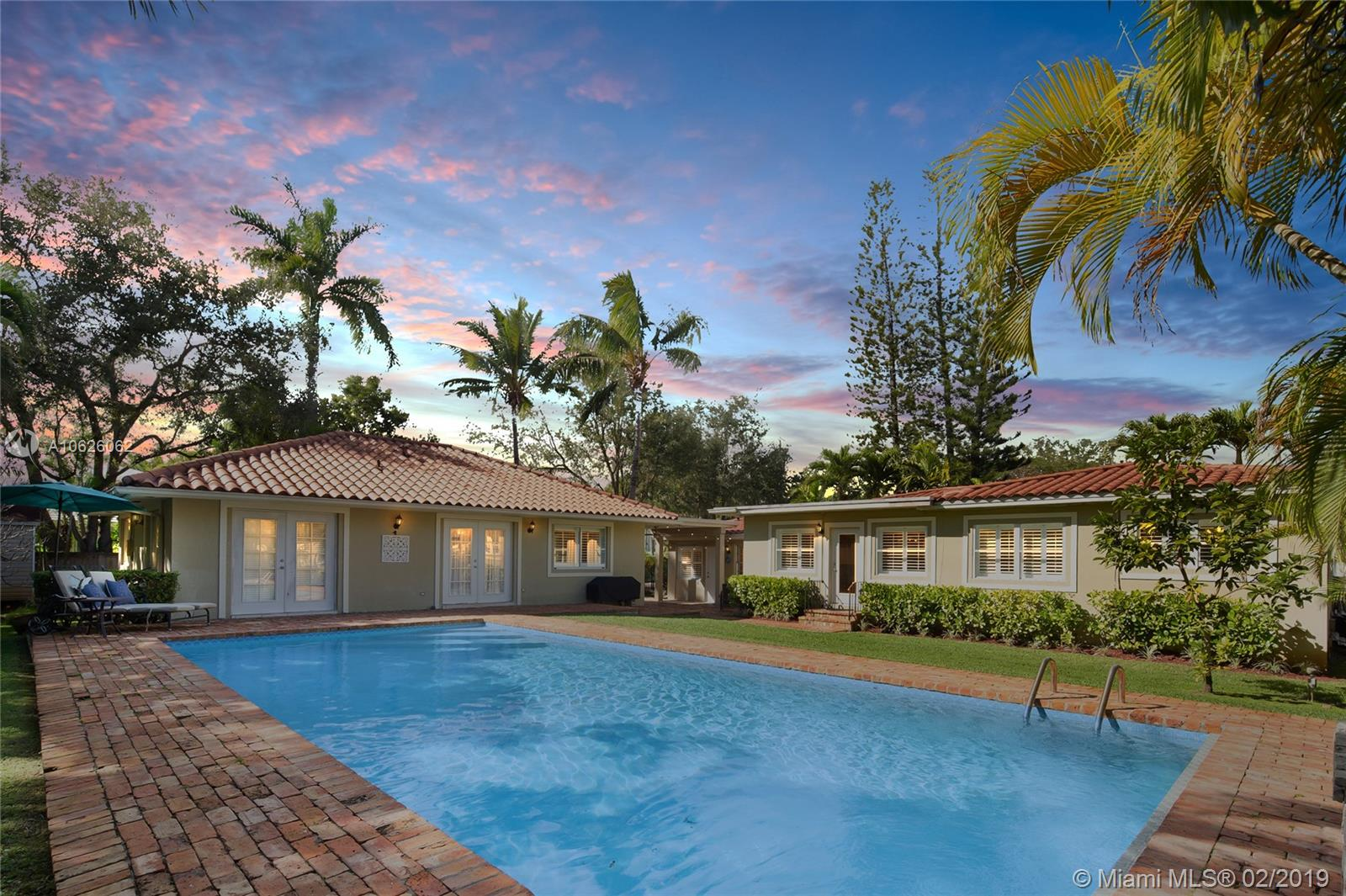 Spectacular Pool Home with Guest House in the prestigious and sought after Sea View Park neighborhood of South Miami.  This well kept gem with spacious kitchen, living and dining room has plenty of closets and storage for a large family.   Crystal clear swimming pool with covered patios, Chicago brick, BBQ, lush landscaping, and long driveway with lots of parking!  Immaculately kept property in beautiful condition that has many features with state of the art appliances, Travertine Marble bathrooms, Dade County Pinewood Flooring, and impact resistant doors to name a few.  Close to Epiphany Church, Lourdes Academy, Dante Fascell Park, Temple Beth Am, Shops, Supermarkets, Restaurants and much more!  Great property for entertaining, and a great investment opportunity.  A must see!!!