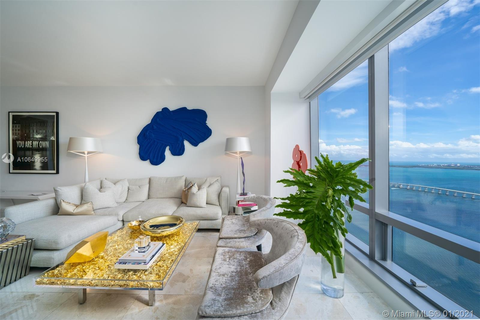 THIS IMMACULATE RESIDENCE ON THE 62ND FLOOR AT FOUR SEASONS RESIDENCES OFFERS BREATH-TAKING VIEWS OF THE ATLANTIC OCEAN & BISCAYNE BAY AS FAR AS THE EYES CAN SEE. TOP-OF-THE-LINE FINISHES