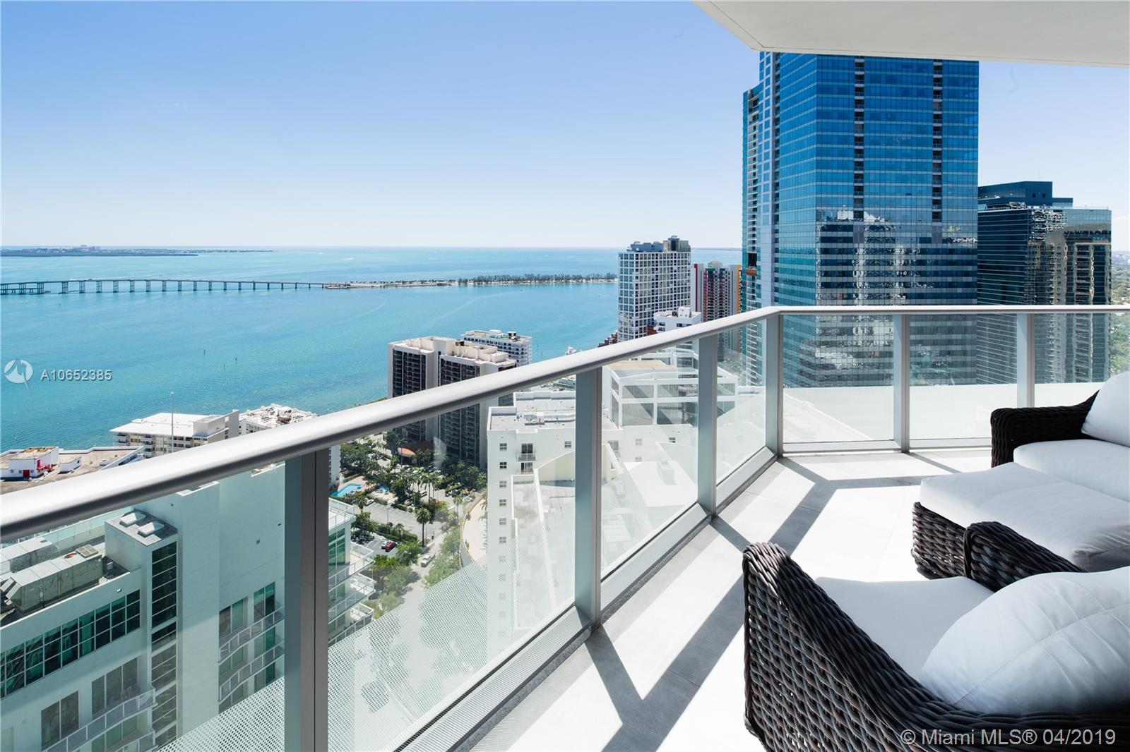 Incredible lower penthouse at Brickell House designed by European Architect. Enjoy a spacious 3 bedrooms + den and 3,5 bathrooms with panoramic views of Biscayne Bay. This 11 feet ceiling flow through penthouse has two large terraces facing the bay and the Brickell skyline to enjoy sunrises and sunsets. Five stars amenities include 24hr concierge and valet services, 10 ft theater, pool deck, spa and cabanas, the 14th floor and rooftop infinity pools and 2 robotic spaces.