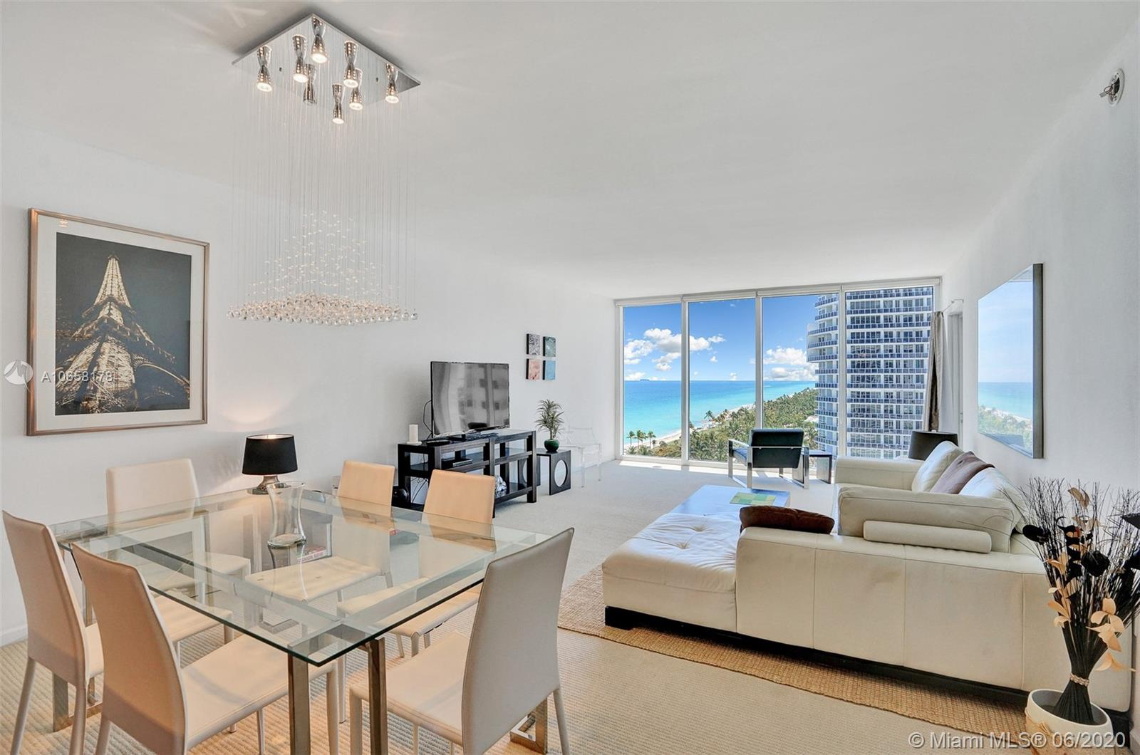 Stunning ocean views from best line at the prestigious Harbour House in Bal Harbour. This nearly 900Sqft. condo offers endless ocean and beach views from floor to ceiv. vling glass windows from the kitchen, living area and also the master bedroom. The spacious master bedroom offers sliding glass doors that open to a wide balcony. It boasts new laminate wood flooring, an open kitchen w/Kitchen Aid appliances, a comfortable dining + living area, a guest bathroom and WD en suite. The newly renovated Harbour House is a full service building offering 24/7 concierge, beach service, spa, fitness center, pool, valet a . It is located adjacent to the Ritz Carlton and walking distance to the famous Bal Harbour Shops. (agents see Broker remarks)