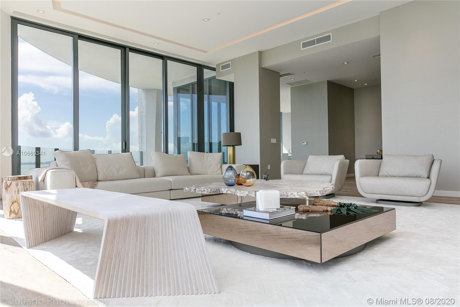 Welcome to UPHB in Coconut Grove's newest development; Park Grove. Upon arrival from your private elevator, UPHB offers 180 degrees of expansive views of Biscayne Bay & our city skyline. 5 BR/ 5.5 BTH, 2,930 SF of private balcony & roof top terrace with pool, Jacuzzi, & summer kitchen. Designed by Pritzker Prize-winning Architect Rem Koolhaas/OMA. Located on 5-acres of waterfront in Coconut Grove, the most picturesque part of Miami and home to its wealthiest residents. Park Grove offers over 50,000 SF of resort style amenities including wellness lounge, fitness rooms, spa, steam, sauna, pool, cabanas, media room, valet, concierge & more. Residence has been partially curated by Artefacto. Residence is also available for rent for $35K/month.