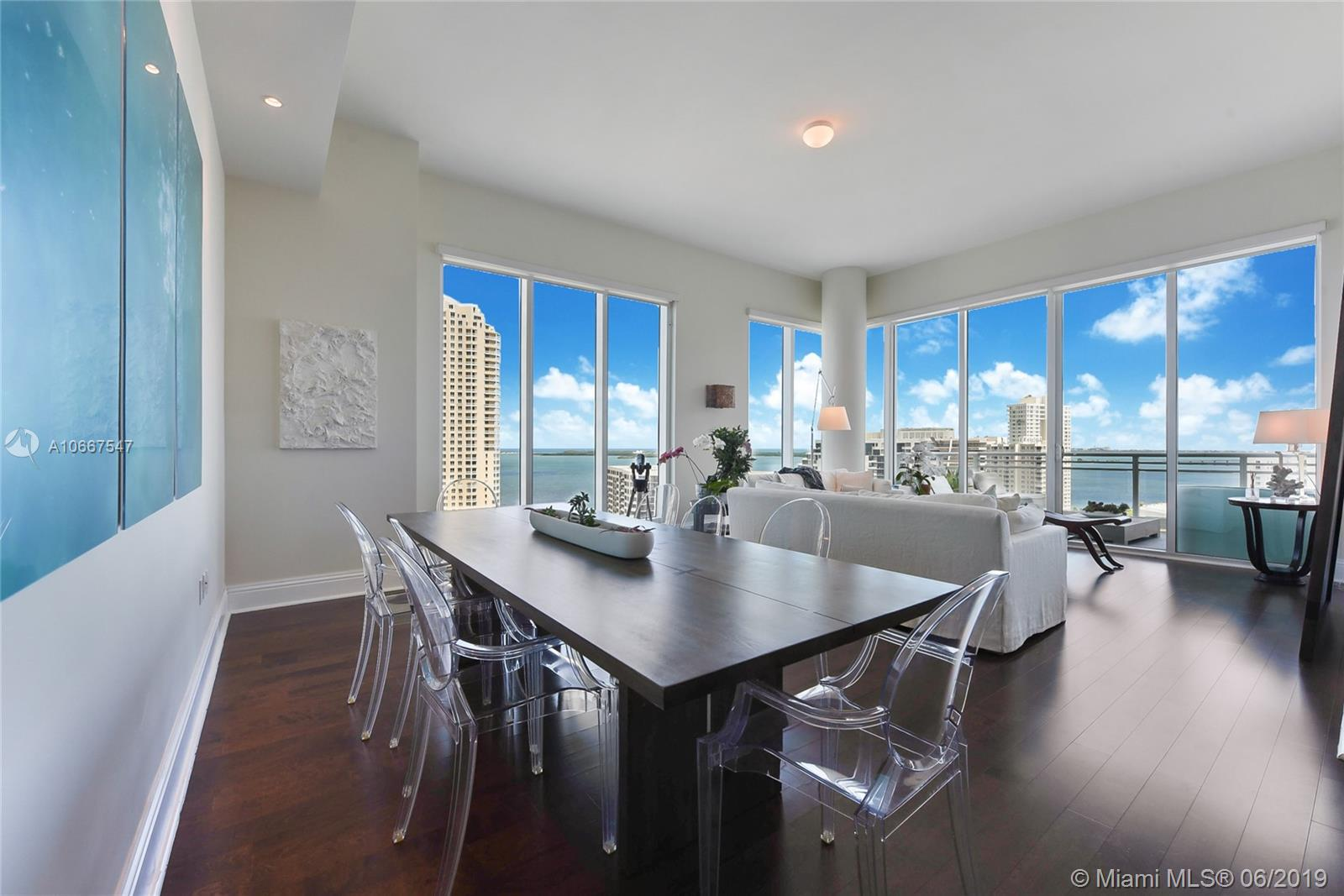 Asia is the premier luxury building on Brickell Key, a private island right in the center of Miami. This unit boasts scenic views of the both the bay and Miami skyline. From a newly remodeled open-kitchen with Miele and Sub-zero appliances, to a private elevator, luxury baths, 12' ceilings. This unit also has 3 bedrooms and a den with a full bathroom which can be used as an extra bedroom. The building offers a gym, racquet ball and tennis court, pool, valet parking, 24- hour concierge service, and much more.