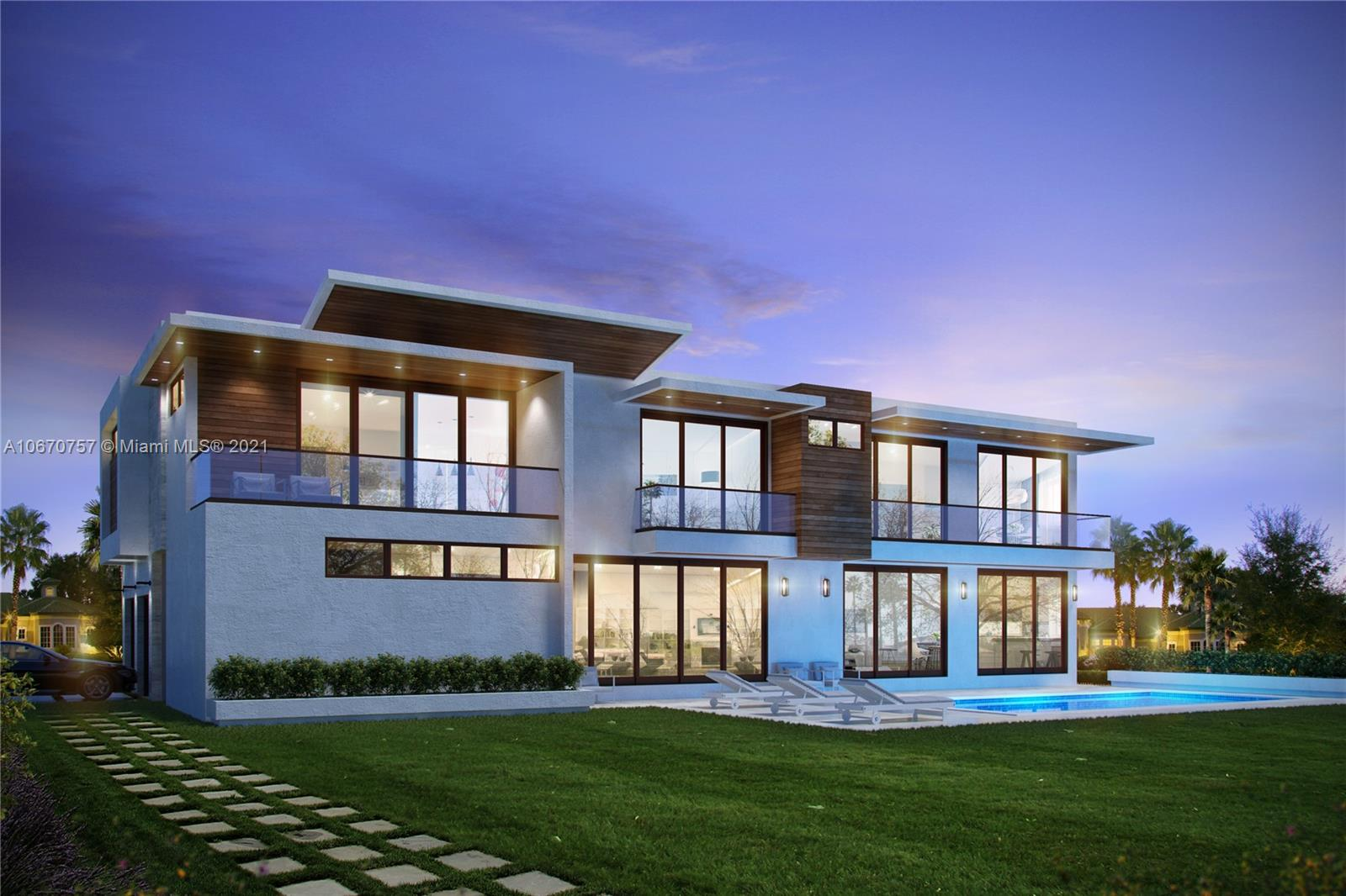 Ideally situated in the prestigious Ponce-Davis neighborhood, this contemporary new construction 2-story estate is being built brand new on a ¼ acre corner lot, surrounded by majestic oaks, on highly desirable Davis Rd/SW 80th St, 1-block W of Ponce. Architectural plans completely approved for 5,564 SF of LA under AC with 5BD/4BA upstairs, and 1BD/1.5BA downstairs, with 2-car garage & generous living areas. Magnificent features include impact glass throughout, 4 AC systems, 10' ceilings, modern glass railings on exterior balconies & interior stairways, outside bbq, heated/saline pool & spa. Beautiful master suite with large 23' balcony and 2 huge walk-in closets. Buyer may select certain finishes. Spring 2021 completion date. Make your dream come true in Ponce-Davis!