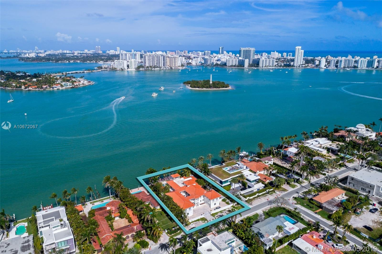Situated on an oversized 21,000 SF lot with unobstructed wide open bay views and 120 ft of water frontage, this home on the prestigious and guard gated Hibiscus Island has great potential. With 16,170 total sqft, this home features panoramic views throughout, 7 bedrooms, 9 + 1 bathrooms, large pool, spacious backyard, and private dock with boat lift. Live in the heart of Miami Beach in close proximity to world class restaurants, shopping and beaches of South Beach, Downtown and Wynwood.  For knockdown value; property contains building that currently requires substantial renovation to get new certificate of occupancy.