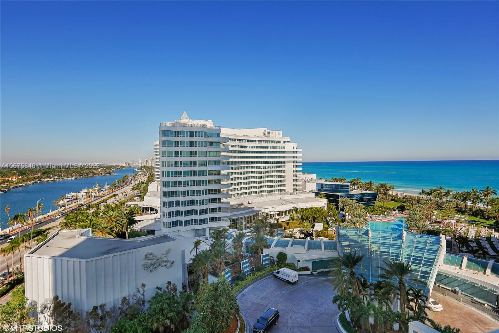 Beautiful Jr Suite w/ocean, bay & city views at Fontainebleau II. Enjoy full service, vacation-style living in a furnished turnkey unit with ample closet space and balcony. This unit comfortably sleeps four with a king bed, living area with sleeper sofa and kitchenette. Enroll in hotel rental program & receive income while away! The Fontainebleau Resort offers luxury amenities on 22 oceanfront acres including award-winning restaurants, LIV night club, Lapis spa & state-of-the-art fitness center. Maintenance includes: AC, local calls, electricity, valet + daily free breakfast in the owner's lounge.