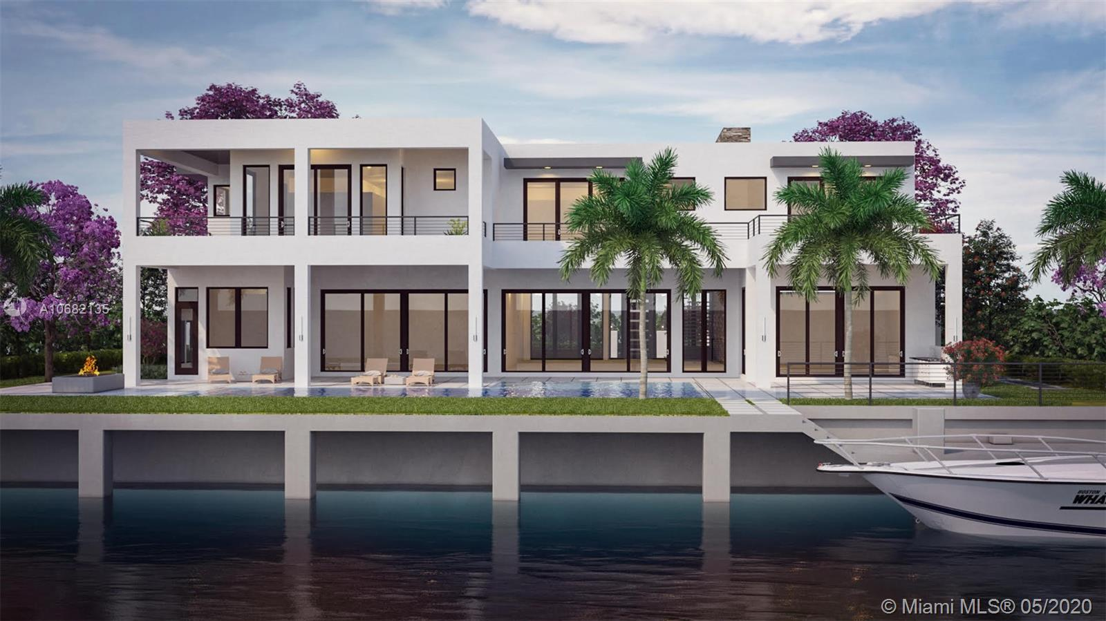 Extraordinary new waterfront home located across from the prestigious Coral Ridge Country Club. A modern architectural masterpiece featuring over 6,700 square feet of living space on a 14,553 square foot lot with a 125 feet of deep-water dockage. Completion Summer of 2020.