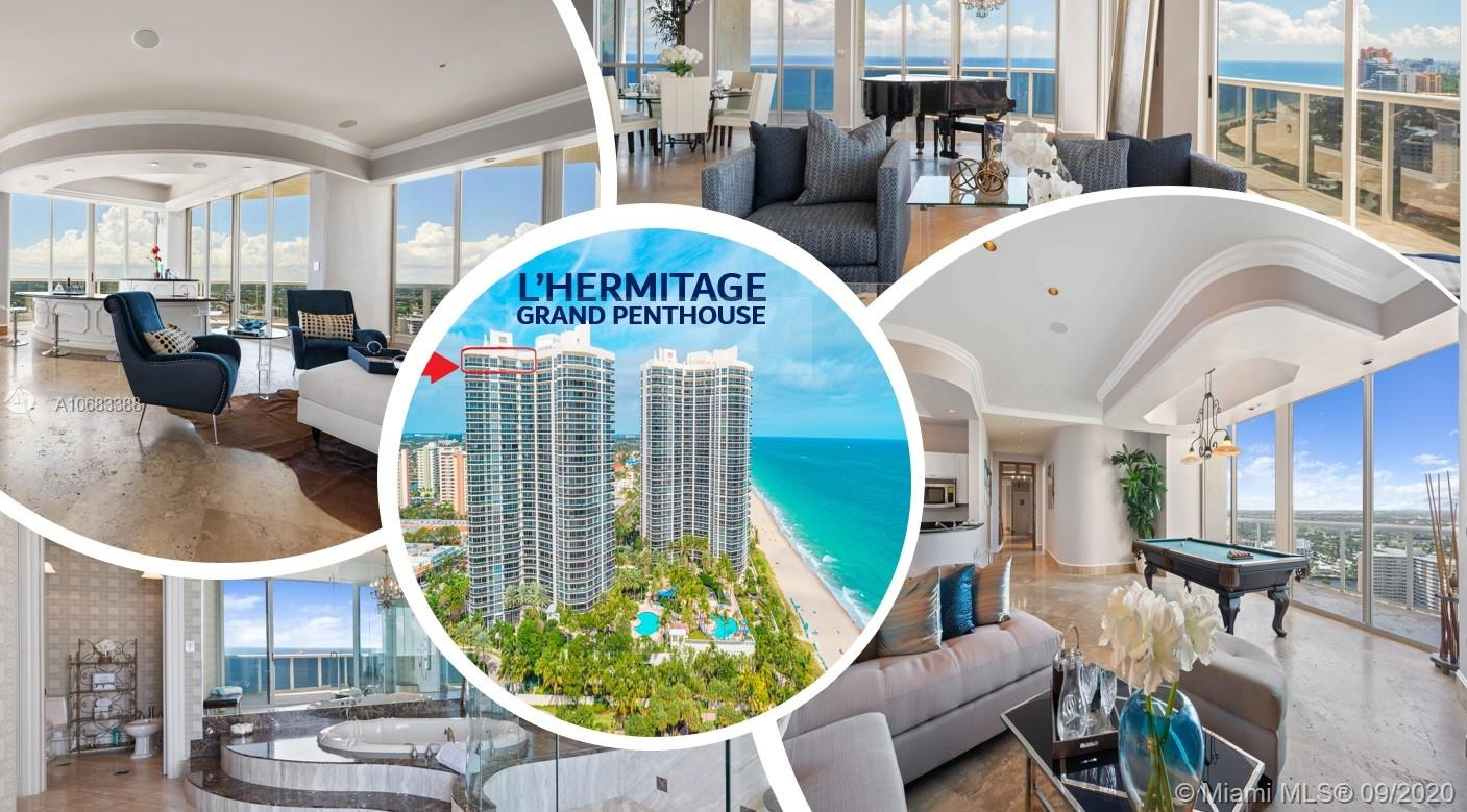 DEAL OF THE DAY-Live above the rest in the just refreshed Grand Penthouse at L'Hermitage. Enjoy spectacular views of sun, sea & city from 6 private balconies in this 6,600+SF residence. PRICED BELOW APPRAISED & MARKET VALUE! Original owners created unique masterpiece merging 3 units to 1. This trophy residence has a split floor plan w/separate elevator/entrance to guest wing, 4 bedrooms w/ensuite bathrooms, 2 custom offices, 2 powder rooms, eat-in kitchen, guest kitchenette, formal dining room, living room & bar. Large master suite w/wet bar, roman tub, shower, dual vanities & 2 big walk-in closets. 3 prime parking spots & 3 storage units. Can come designer decorated (addl. fee). Resort-style community w/10 acres of beachfront, 2 tennis courts, pools, saunas, café, concierge, valet, gym +.