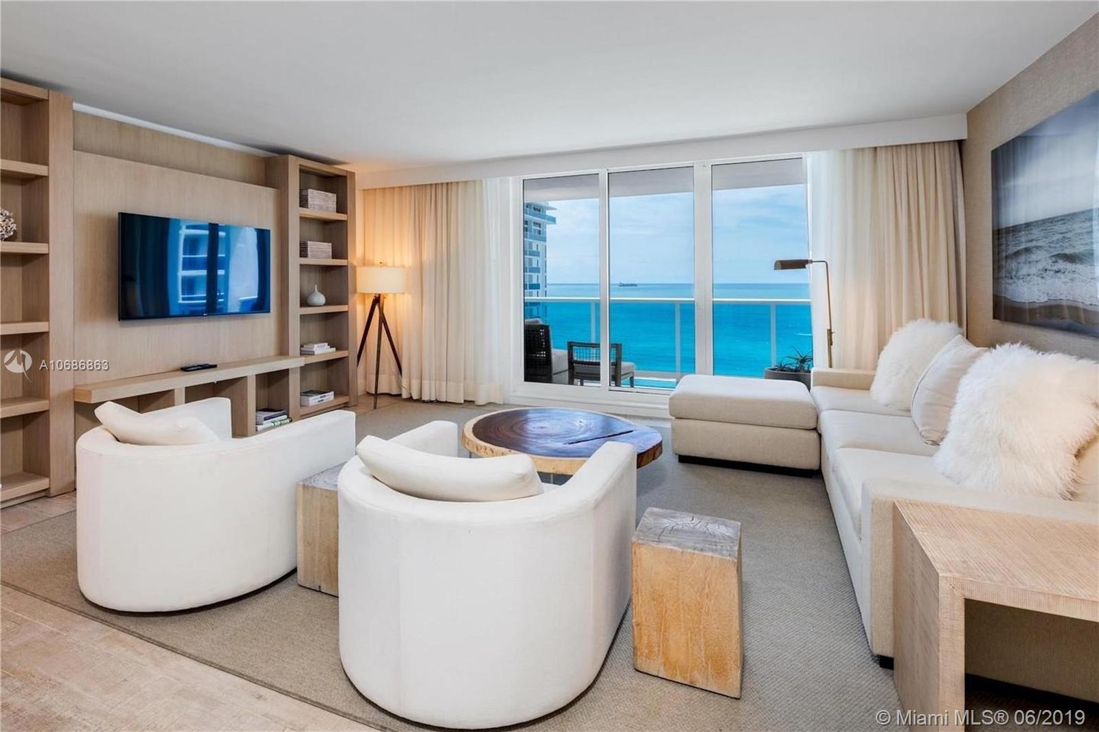 Enjoy direct ocean views from this 3 bedroom + den luxurious 1,817 Sq. Ft. Ft. condo. Comes with the custom hotel furniture package designed by acclaimed Brazilian interior decorator Debra Aguiar. Each room has smart TV's. Guests have access to a variety of white glove services including a private fully-staffed residence lobby, valet attendants, personal concierge, chauffeured Tesla sedans, the hotels 5 star luxurious and chic eco-conscious amenities. Rental includes linens and towels, toiletries, dishes, pots and pans, daily coffee and tea, full use of all the hotel amenities to include 4 pools, 4 restaurants, 3 bars, 14,000 sq, ft, spa and hair salon, Soul Cycle, chauffeured Teslas, and much more. Available for daily, weekly, monthly and yearly rentals through Five Star Luxury Travel.