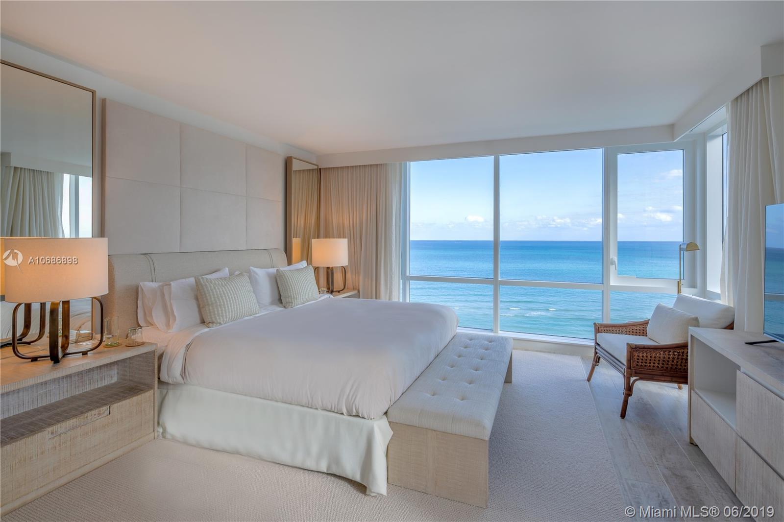 Enjoy direct ocean views from this gorgeous 2 bedroom condo with 1,481 Sq. Ft. of living space. Comes with the custom hotel furniture package designed by acclaimed Brazilian interior decorator Debra Aguiar. Guests have access to a variety of white glove services including a private fully-staffed residence lobby, valet attendants, personal concierge, chauffeured Tesla sedans, the hotels 5 star luxurious and chic eco-conscious amenities. Rental includes linens and towels, Toiletries, dishes, pots and pans, daily coffee and tea, full use of all the hotel amenities to include 4 pools, 4 restaurants, 3 bars, 14,000 sq, ft, spa and hair salon, Soul Cycle, chauffeured Teslas, and much more. Available for daily, weekly, monthly and yearly rentals through Five Star Luxury Travel.