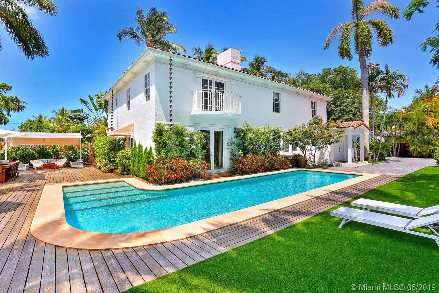Located on gated and secured Hibiscus Island, this charming 3.857 SqFt, 2 story modern style house offers 5BD/4.5BA and was totally renovated in 2017. 4BD upstairs, including the Master Suite overlooking the L shape pool and garden. This house, located on a 9.500 Sq.Ft corner lot, is in perfect condition.  New modern kitchen, new bathrooms, Tile and Wood flooring, new A/C. Additional features : heated pool, outdoor kitchen with bar and large outdoor entertaining area, security system, electric gate, new driveway. This house is made for Families with its service/maid quarter, large family room and open kitchen.