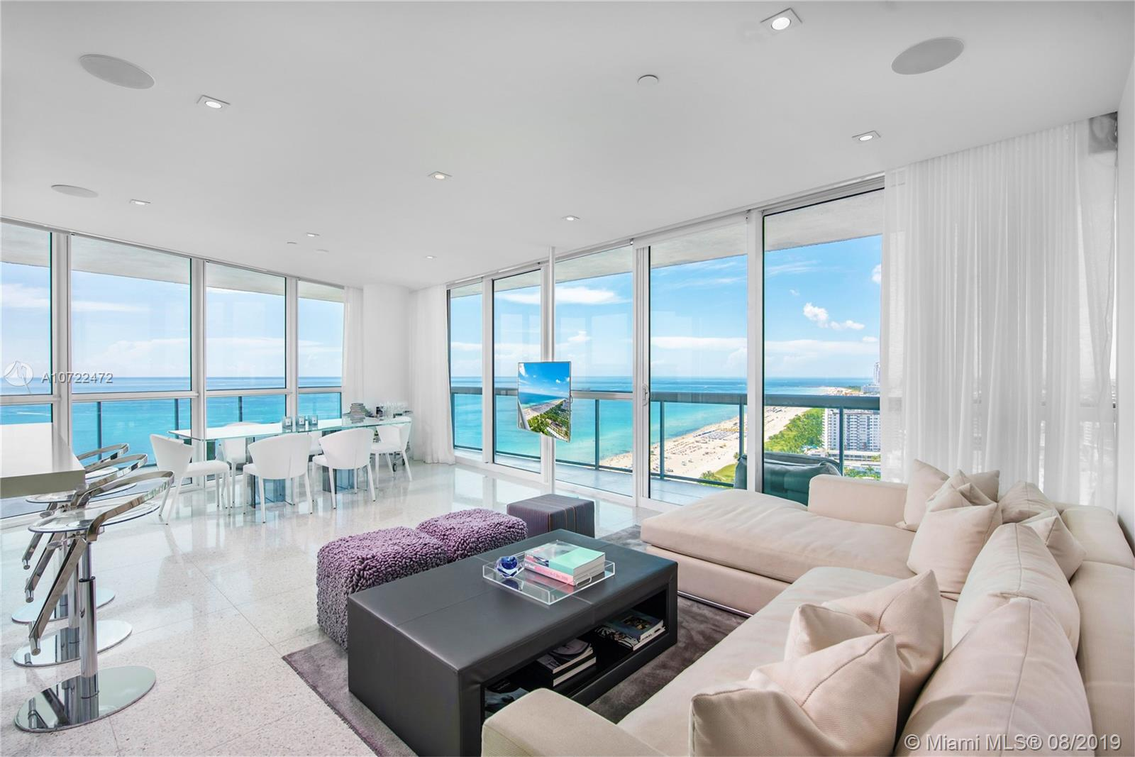 Enjoy living in this beautifully chic and unique designer residence on the South East corner of the 32nd floor of the famous Setai Resort & Residences!  With unobstructed views to the South you will find the panoramic views of South Beach and to the East the direct ocean sunrises and towards the West the Downtown Miami sunsets!  This sleek apartment has been reconfigured to maximize the floorspace and the views from every room. The Setai provides it's guests and residences with 5 star services and high end amenities; featuring  onsite restaurants, world class spa services, 24 hour room service and complete food and beverage service at both the beach and the pool.  Very easy to show and easy to rent short term or long term.