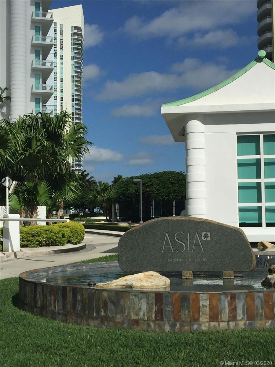 SPECTACULAR UNIT IN ASIA IN EXCLUSIVE BRICKELL KEY ISLAND ! CORNER UNIT FEATURES A 180-DEGREE BREATHTAKING VIEWOF THE OCEAN , BISCAYNE BAY , AND MIAMI´S LIVELY EXCITING SKYLINE. 12-FOOT CEILINGS . PRIVATE ELEVATOR. THE GOURMET KITCHEN HAS ITALIAN COUNTER TOPS , WINE COOLER , AND A BUILT - IN ESPRESSO MACHINE . MIELE OVENS COMPLEMENT THE SUBZERO REFRIGERATOR WITH INTEGRATED MICROWAVE AND CERAMIC COOK TOPS. 2 ASSIGNED PARKING SPACE AND STORAGE. AMENITIES INCLUDE A 24/7 CONCIERGE AND VALET PARKING , TENNIS COURTS. A SWIMMING POOL  , JACUZZI, GYM , AND A PARTY ROOM. MOST EXCLUSIVE BUILDING ON THE ISLAND!!!!