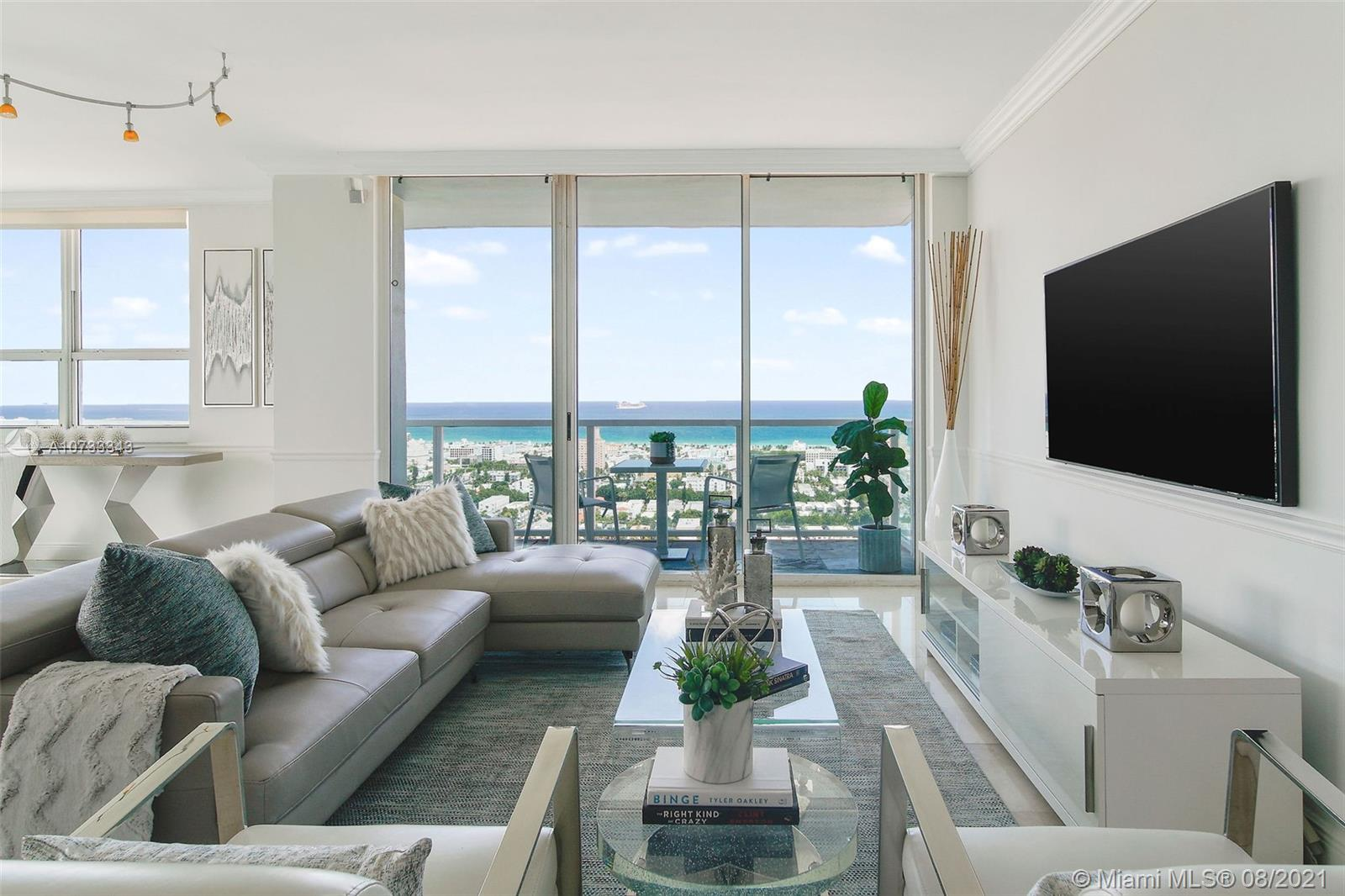 Large CORNER Penthouse in South Beach.  Rarely available PH unit in the building with higher ceilings and multiple balconies.  Expansive views of Ocean AND Bay.  2 Bed/2.5 Bath.  1700SqFt total with TWO balconies.  Renovated with marble and wood flooring.  Open gourmet kitchen.  Enjoy luxury amenities:  two bayfront pools, tennis, poolside food/beverage, concierge, gym, onsite gourmet market, etc.  The West Ave neighborhood offers many choices for dining and shopping at your doorstep.  Shoppes at West Ave, walk to Whole Foods AND Publix, and numerous restaurants, etc.  Easy access to I-195 and 5-10 min commute to downtown Miami.  Two assigned/covered parking spaces.  Tenant occupied.  Tenant may stay or go.