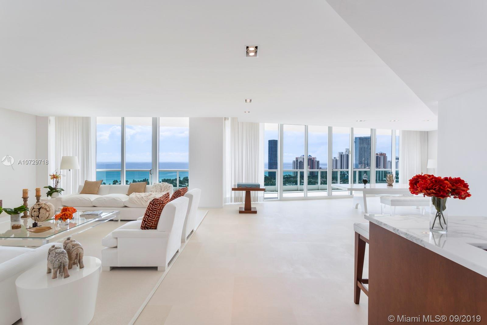 Residence 2501 in the last tower built in Porto Vita offers spectacularly preserved ocean, golf course, and skyline views from its three terraces. Spanning over 5,000 sq. Ft. with a clean, contemporary design with plenty of room for guest or family. A private elevator entry and elegant gallery lead to the open-concept living space; a luxurious master suite plus office and three additional bedroom suites all enjoy incredible views. Country club amenities include a private clubhouse designed by Fanny Haim, an expansive and staffed state-of-the-art fitness center and spa, hair salon, full-service pool, kid's playground, and two residents-only restaurants.
