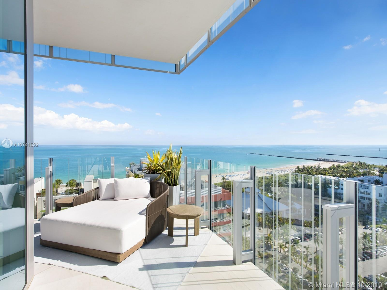 """GLASS at 120 Ocean Drive designed by Rene Gonzalez is true exclusive luxury living. One of only 10 residences, this spacious 15th floor offers stunning 360 views of Miami Beach, ocean, city and intracoastal. Residence features include Calcutta marble kitchen with Gaggenau and Sub-Zero appliances, oak wood floors with floating walls and master bathroom made of floor to ceiling Arrabescato marble. Estate manager, exclusive beach and 24 hr security and concierge services. """"It's a building that tends to disappear"""", said architect Rene Gonzalez. Located in hot South of Fifth neighborhood in walking distance to some of the best restaurants and shopping."""