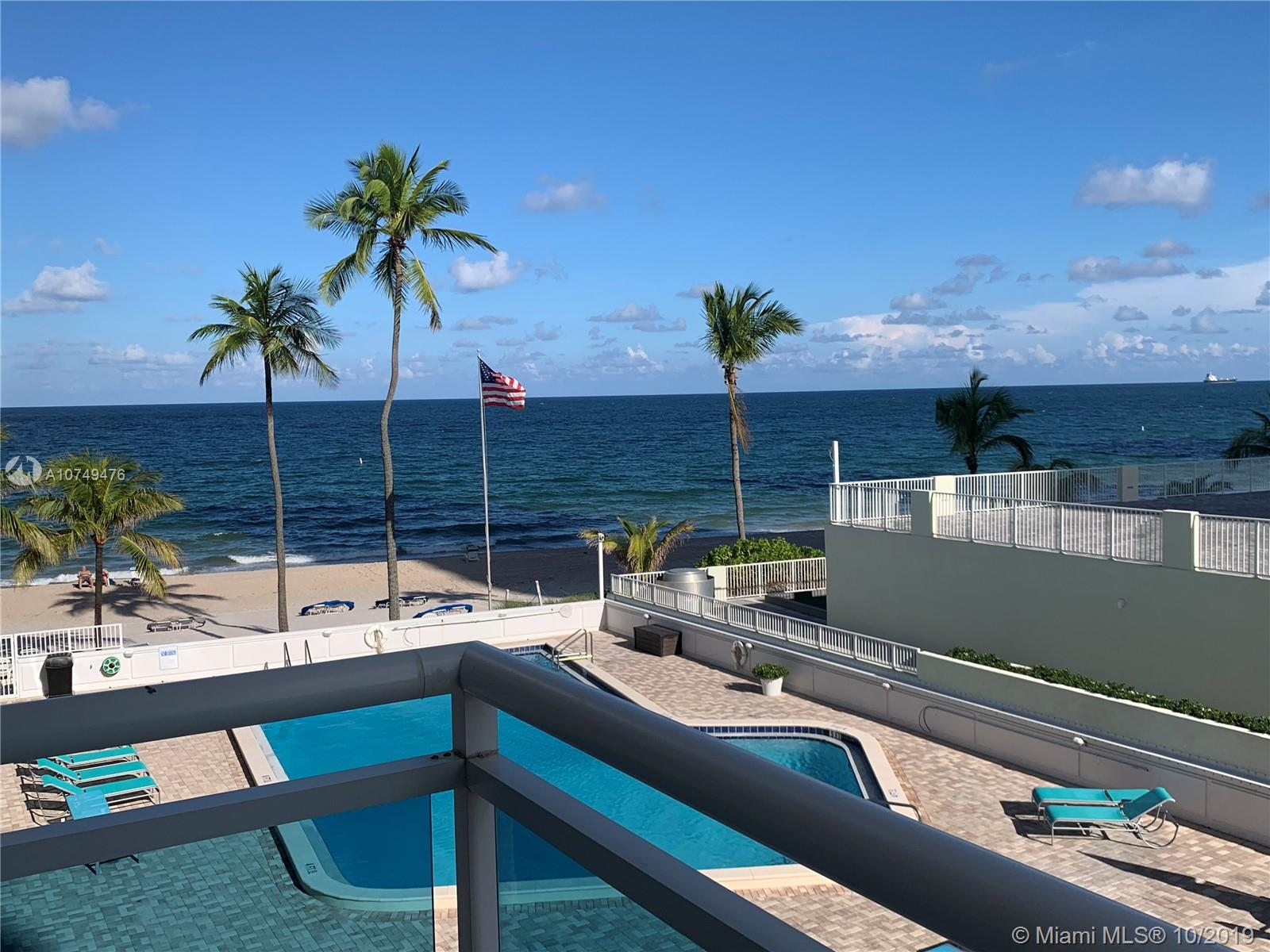 Live Directly on the Beach in prestigious Galt Ocean Mile! Step out to the balcony and enjoy direct ocean views! The building features private beach access with cabanas, updated pool overlooking the ocean, gym, clubhouse/ party room with piano, outside deck area, on-site management and more. The Commodore is conveniently located near shops, restaurants, and the Galleria Mall is just ten minutes away!