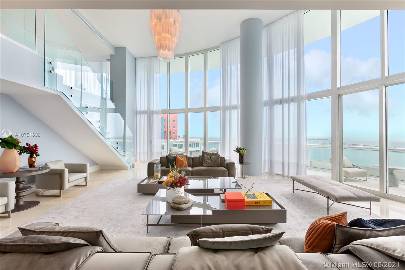 LUXURIOUS SANTA MARIA BUILDING ...AMAZING TWO STORY RESIDENCE WITH OVER 5700 SQ FT UNDER AIR PLUS BALCONIES PROFESSIONALLY DECORATED WITH SPECTACULAR VIEWS OF THE OCEAN, KEY BISCAYNE AND CITY SKYLINE LOCATED IN THE EXCLUSIVE SANTA MARIA BUILDING,  FEATURING 4 BEDROOMS AND 5.5 BATHS , WHITE KITCHEN ,AMAZING NEW FITNESS CENTER ON TOP OF THE BUILDING, PRIVATE ELEVATORS,COFFEE SHOP, SELLERS VERY MOTIVATED .. VERY EZ TO SHOW..PRICE JUST REDUCED...