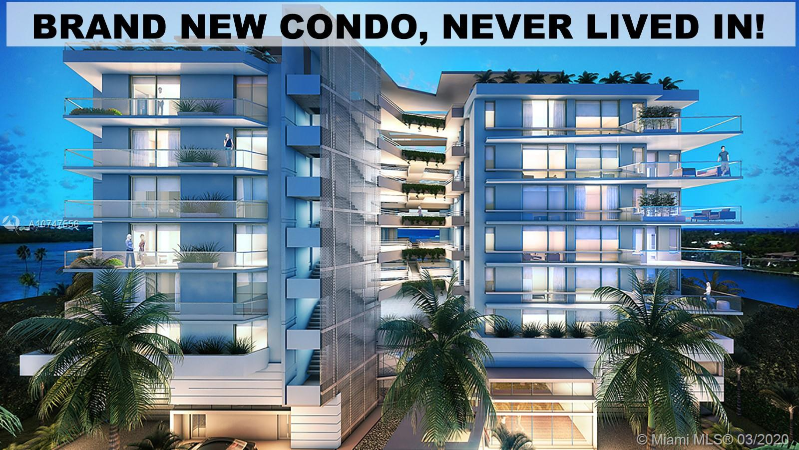 "BRAND NEW CONDO, NEVER LIVED IN!   Large 1 Bed + Den (can be 2nd bdr) & 2 Baths with partial water view. 2 covered parking spaces + 1 storage cage. Complete Kitchen with top of the line appliances including wine cooler and washer/dryer. The Palms Condo is a boutique waterfront building with a rooftop pool deck, hot tub, rooftop BBQ/entertainment area with amazing views. Located in Bay Harbor Islands, one of Miami's most desirable locations. Walk to ""A"" rated Ruth K. school (K-8), just minutes to the world-famous Bal Harbour Shops and the sandy beaches of Bal Harbour and Surfside.  The island is perfect for families; playgrounds throughout the island, tennis courts, bicycle paths, citibike rental adjacent to bldg. A one of a kind property in a one of a kind neighborhood."