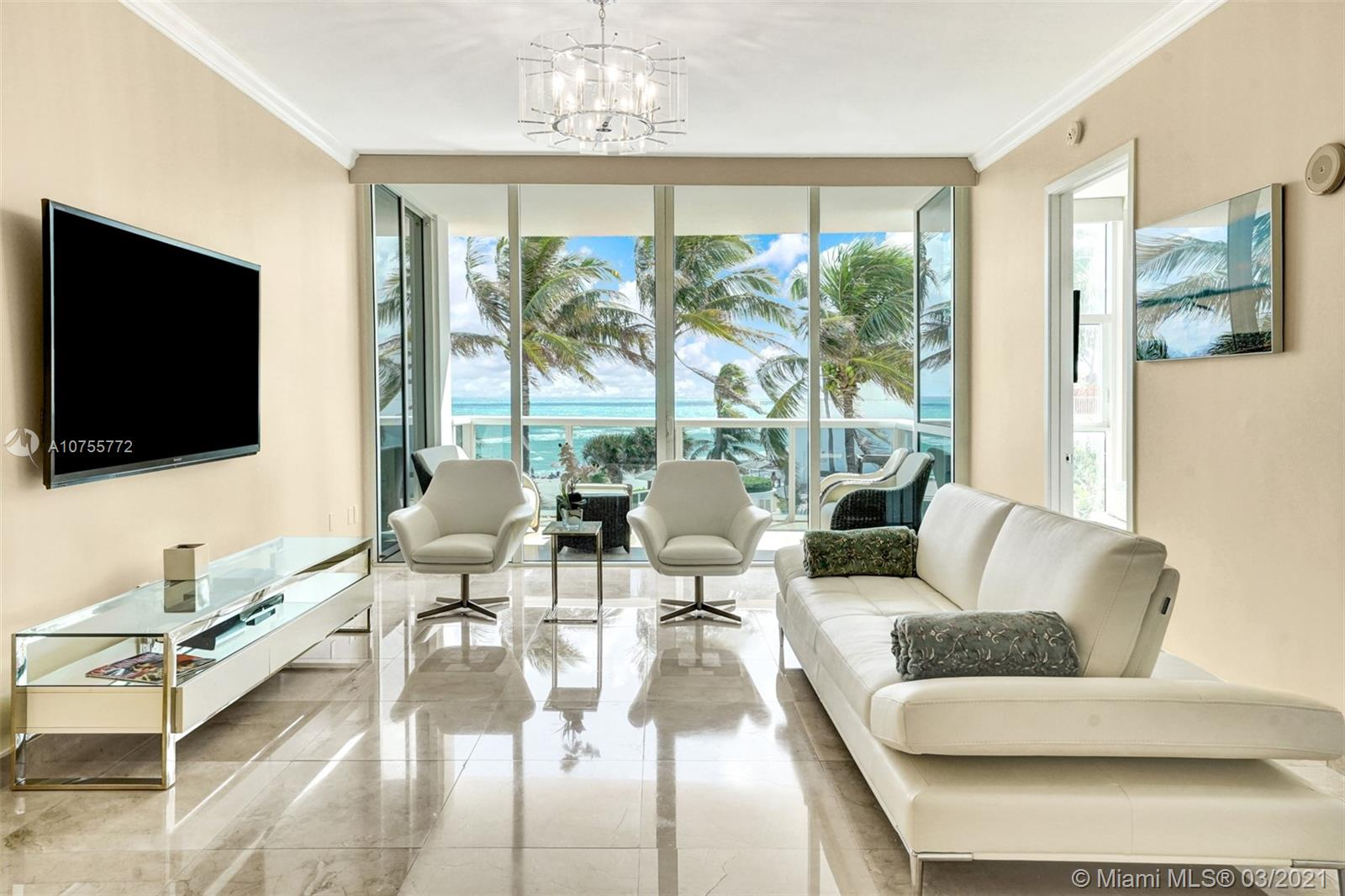 LUXURIOUS 2 BED/2.5 BATH RESIDENCE IN TRUMP PALACE OFFERS DIRECT OCEAN AND POOL VIEWS. EUROPEAN FULLY EQUIPPED KITCHEN WITH GRANITE COUNTERTOPS, STAINLESS STEEL APPLIANCES, MARBLE FLOORS, WINDOW TREATMENTS, CUSTOM CLOSETS, JACUZZI. EXCLUSIVE OCEAN FRONT PROPERTY WITH MANY POOLS, SPA, FITNESS CENTER, BUSINESS CENTER, BEACH, ROOM SERVICE, CONCIERGE, 5 STAR AMENITIES, 24HR VALET & MORE.