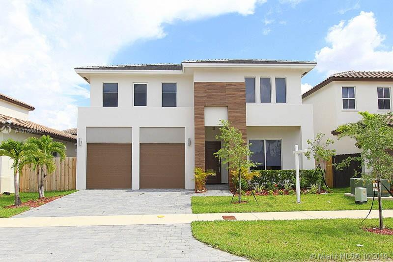 Contemporary single-family home design recently built in 2018! Open concept layout. Features ceramic tiling throughout the first floor. Wood laminate stairs. Carpet flooring throughout the second floor. The kitchen features Carrera marble countertops with stainless steel appliances. 10' high ceilings on the first floor and 9'2' on the second floor. Den can be turned into the 5ht bedroom. The community offers a clubhouse, exercise room, and community pool.