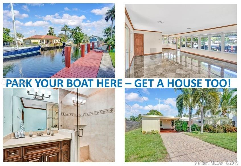 Bring a boat & begin living the South Florida waterfront lifestyle. The perfect place to relax for the seasonal vacationer or live year round in this charming single family home on Citrus Isles. Nestled towards end of the Isle, sits this 2 bed/2 bath home on 6890SF waterfront lot, 85' on water w/private deck and dock. Fenced on all sides, lush yard w/rainbird system, covered patio w/hot tub. Plenty of room for pool. Home has impact windows & doors. Bathrooms  updated with ceramic-tiled showers & glass enclosures; master has new vanity w/granite counter. Quartz kitchen counters, SS appliances, pantry & eat-in area. Marble floors thruout. Plenty of light shines in. Laundry hook-up in 119SF utility room, just off covered carport. No fixed bridges. Easy access to 95 & Turnpike.