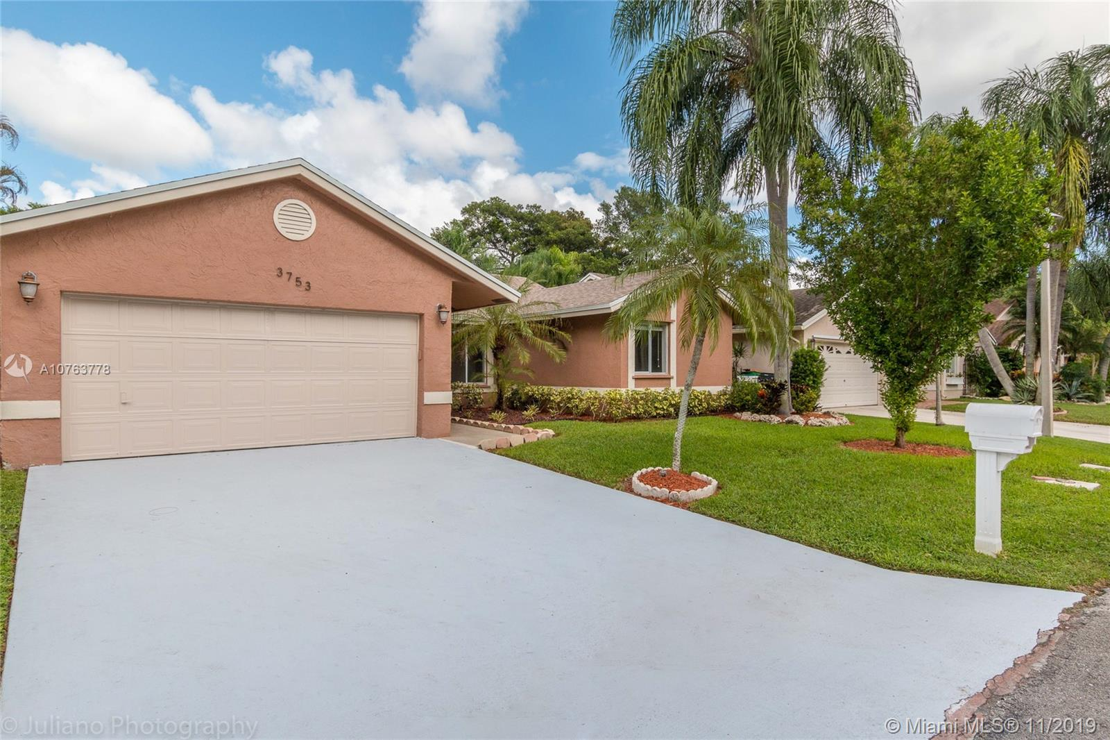 """Tranquil 3 bedroom/2 bathroom Pool Home with no neighbors behind, home sits on a nature preserve.  Newly painted interior, new Stainless Steel Appliances, along with new water heater, and new A/C.  Inside you'll find an upgraded kitchen, Quartz counter tops throughout home, and water resistant laminate flooring. The floor plan is open with volume ceilings, a breakfast area, dining area & counter top seating. Master bedroom has a nice built in closet. Exterior features include screened in pool area with a large covered overhang area for extra shade, and new pool pump.  Fenced yard, great for outdoor fun. Home is in an """"A"""" Rated Middle School district. Convenient Location - short walk to Elementary, Middle Schools & close to Sawgrass. Low HOA fees! Do not miss this fantastic home!"""