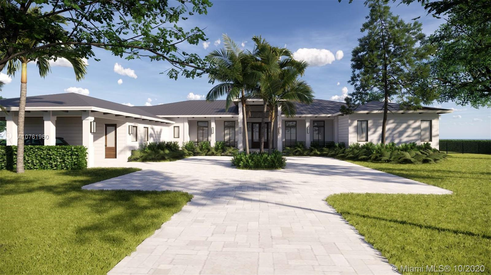 This custom designed new construction home showcases tropical modern architecture while delivering timeless style and legendary Hollub quality and attention to detail. The home features 6 bedrooms, 71/2 baths, a bonus room for ultimate flexibility, family room & lounge with custom bar & fireplace & 3 garages or 2 + a striking carport. Square footage: 9,093, Adj.: 7,667; Living: 6670. This stunning smart home offers sprawling spaces for family gatherings and entertaining. Interior design is custom curated to achieve a sophisticated,  organic aesthetic.  Enjoy large covered patio spaces offset with a lush vista, summer kitchen, pool and spa area w/ sauna & steam room for the ultimate South Florida living experience. Generator. Available Q4 2021.
