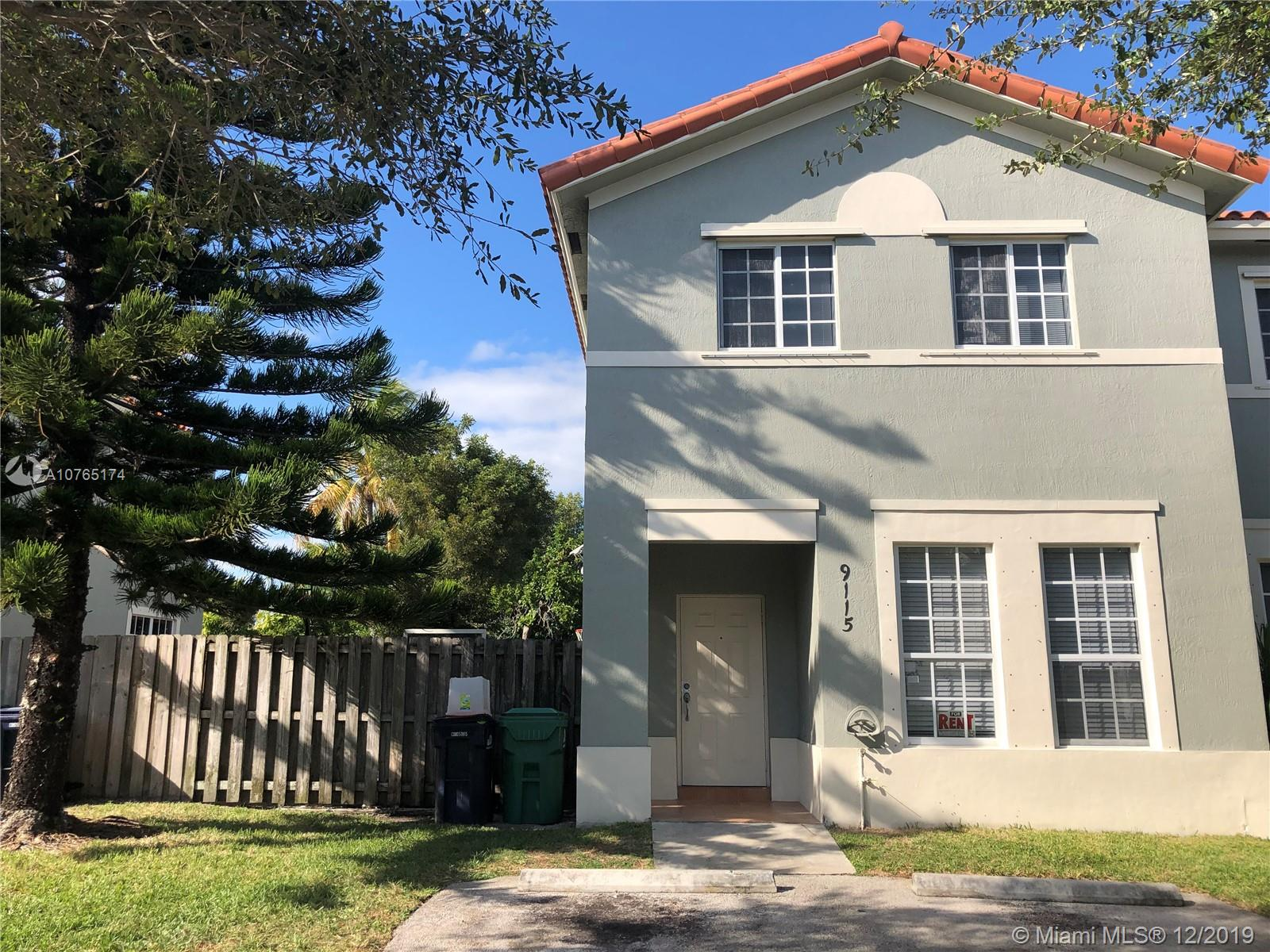 Beautiful two-story townhouse in quiet street, updated with 3 bedrooms and 2.5 baths. Very well-kept unit with fenced yard, tile downstairs, wood floor upstairs. New washer and dryer inside the unit. Open kitchen opens to family room. Centrally located in Cutler Bay close to transportation (Old Cutler Road) and easy access to US1.