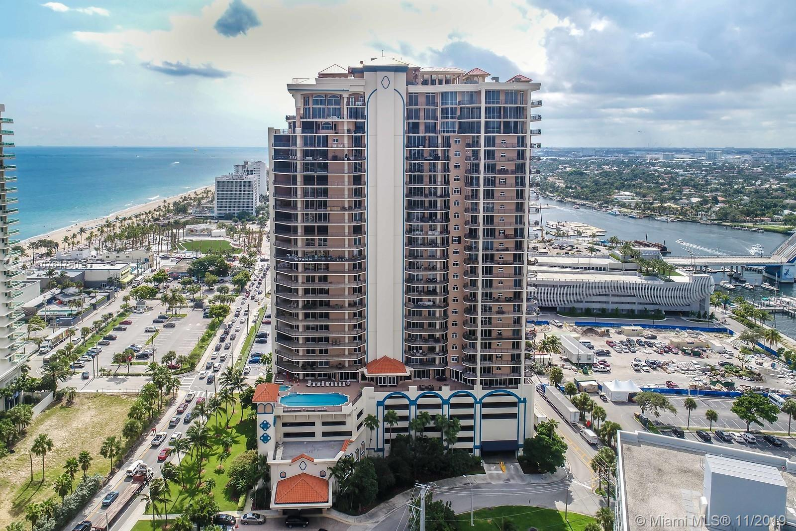 Luxury high-rise condominium located in the the heart of the Fort Lauderdale entertainment district. Full service resort like building features spacious units with large terraces, quality finishes and views of the ocean or intracoastal waterway and downtown. Valet parking, private elevators, all amenities and dog friendly. Marina is adjacent to building for easy boat storage and water taxi stop is across the street to take you to downtown, Las Olas Blvd or north Fort Lauderdale beach.