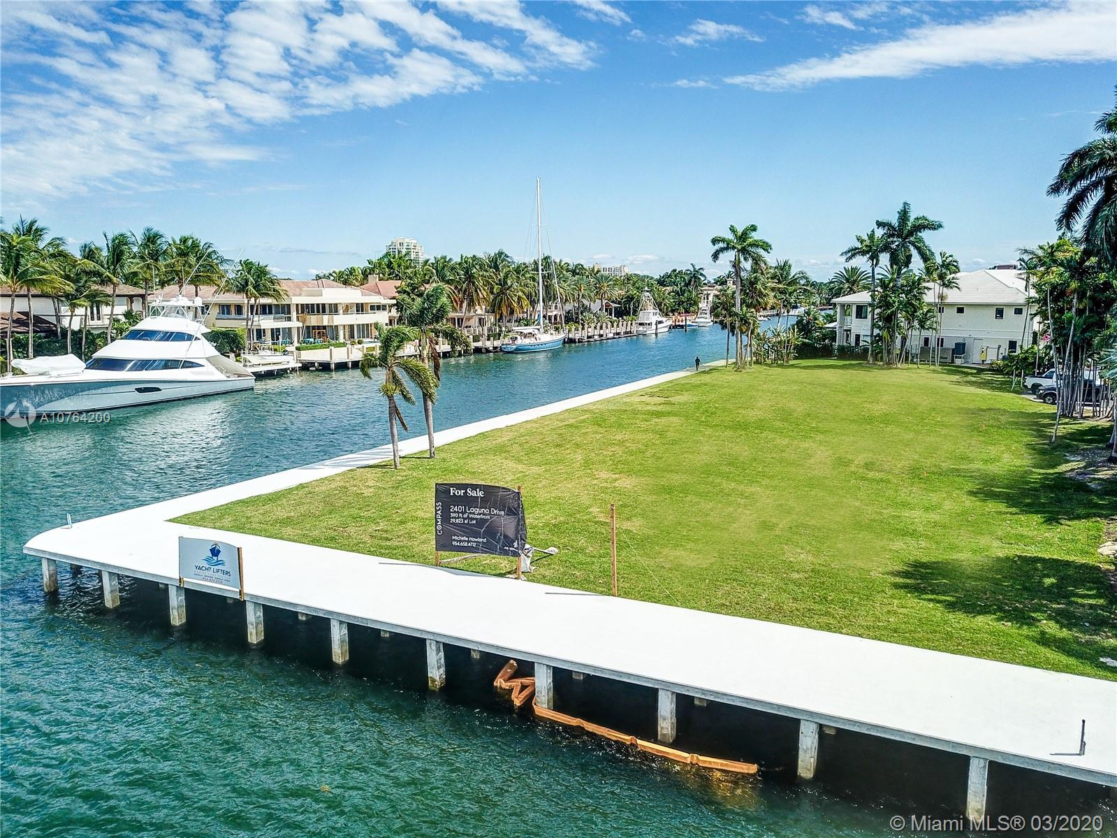 Spectacular Point lot where the intracoastal meets the New River offering panoramic open vistas.  Boasting 390+ of water frontage, accommodates large and multi yacht dockage truly just minutes from the ocean.  New Seawall and Extended Dock to be completed by NOV 30th, 2019.  Unobstructed views extend far and wide toward the long westward expanse up the New River to downtown Fort Lauderdale.  Residents of Harbor Beach also have access to the private beach club.  Take advantage of this rare point lot opportunity to build your dream home.  New Seawall and Extended Dock to be completed by NOV 30th.