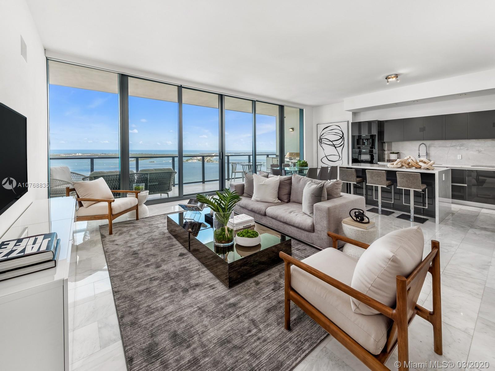 Luxury living at it's finest, this 2 bedroom 3 bath plus den includes 1,627SQFT skyline views with top of the line appliances, smart home, open kitchen floorplan with summer kitchen all facing unobstructed bay views. Fully upgraded including a large storage unit under a/c and 2 assigned parking spaces. This luxurious building offers all the services and amenities for all residents whom want to be pampered all year round. Security, valet and concierge 24/7. Bay view swimming pools with wet bar and full floor state of the art fitness center. Echo Brickell a 57 story skyscraper tastefully designed by Carlos Ott. Located on the Brickell Corridor. Adjacent to the Four Season Hotel, short distance to the new Brickell City Center and Mary Brickell Village.