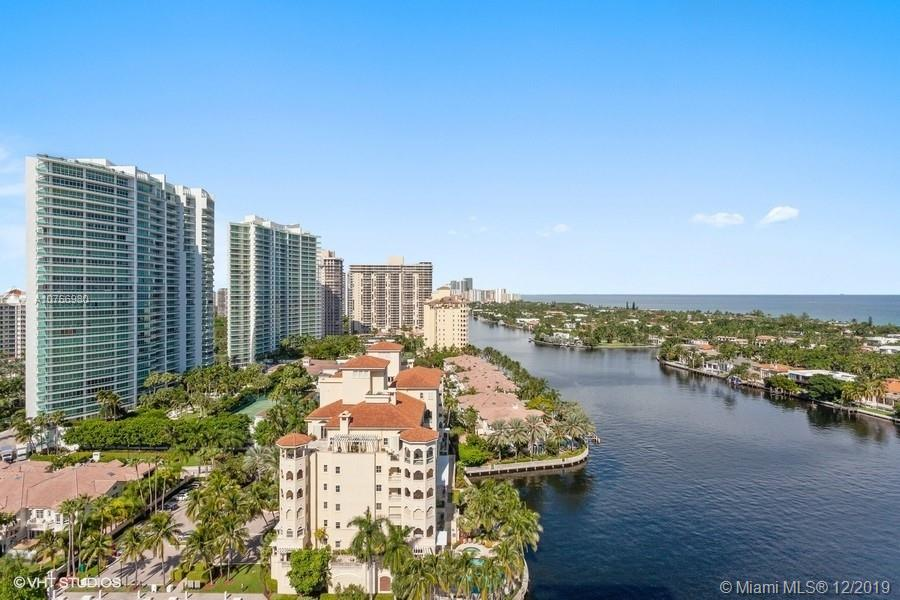 Most sought after large 2 Bd. 2 Bth. in luxurious Turnberry North Tower. Spectacular views north, east and west of the ocean, intracoastal, golf course and city from 2 fabulous terraces. Marble floors, remodeled kitchen, built-in closets and more. Building amenities include  restaurant, gym, exercise room, yoga and water aerobic classes, heated pool, jacuzzi, theater room, children's room, bicycle storage, extra storage, party and card rooms and more.  Live the Florida lifestyle in resort style living! Close to both international airports and lots of great shopping and fine dining!Easy to show!  Call listing agent!!