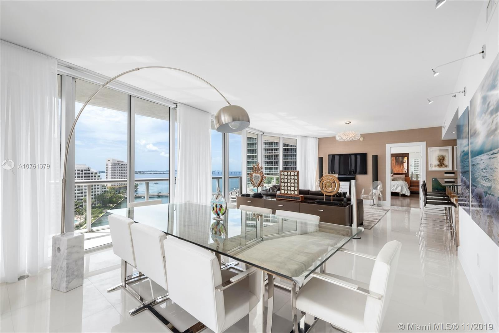 One-of-a-kind, impeccably maintained, highly upgraded 3-bed/2.5 bath in Icon Brickell. One of the best 3-bed layouts in the Brickell marketplace w/bay views from all living & bedrooms. Just renovated luxurious/stunning Master Bath! White Porcelain floors in living areas & wood in beds, motorized blinds & sheer curtains, Lutron lighting system, Nest Digital thermostat w/smart phone app, media wall w TV/Bang & Olufson audio system, custom closets. 2nd Garage Space & Furniture can be purchased separately. See Attachment for full list of upgrades.