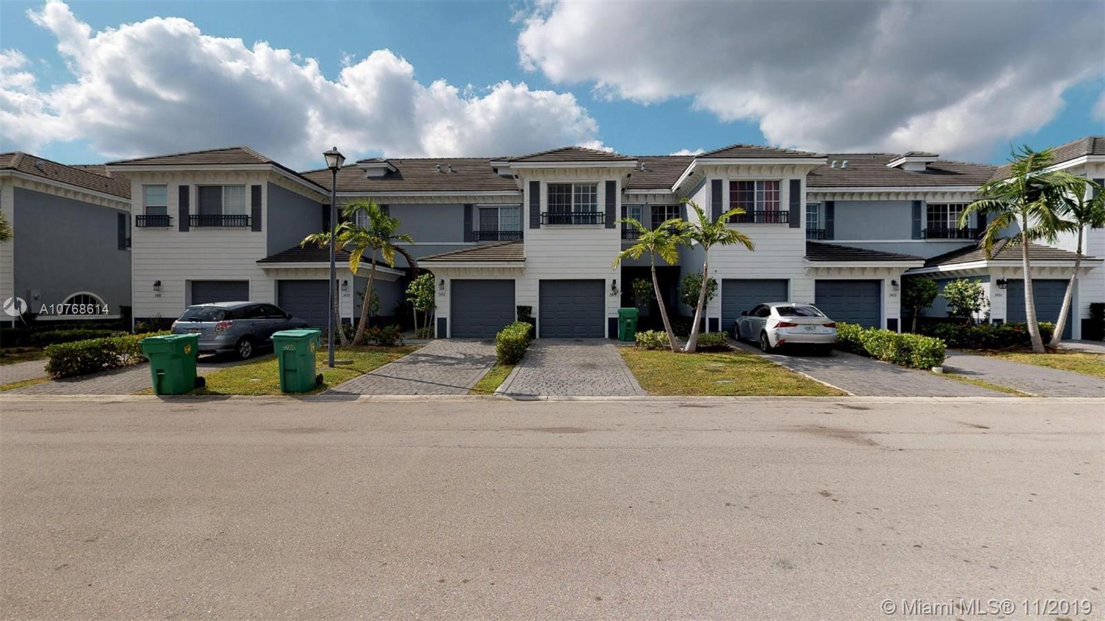 MODERN AND AFFORDABLE TOWNHOUSE IN HEART OF LAUDERHILL. LOCATED NEAR SUNRISE BLVD & SR441. JUST BUILT IN 2014. HOME OFFERS 3 BEDROOMS WITH 2.5 BATHS DESIGN KITCHEN AND EUROPEAN CABINETS, STAINLESS STEEL APPLIANCES, PORCELAIN FLOORS IN 1ST FLOOR AND CARPET IN STAIRS AND UPPER LEVEL. ONE CAR GARAGE ATTACHED.