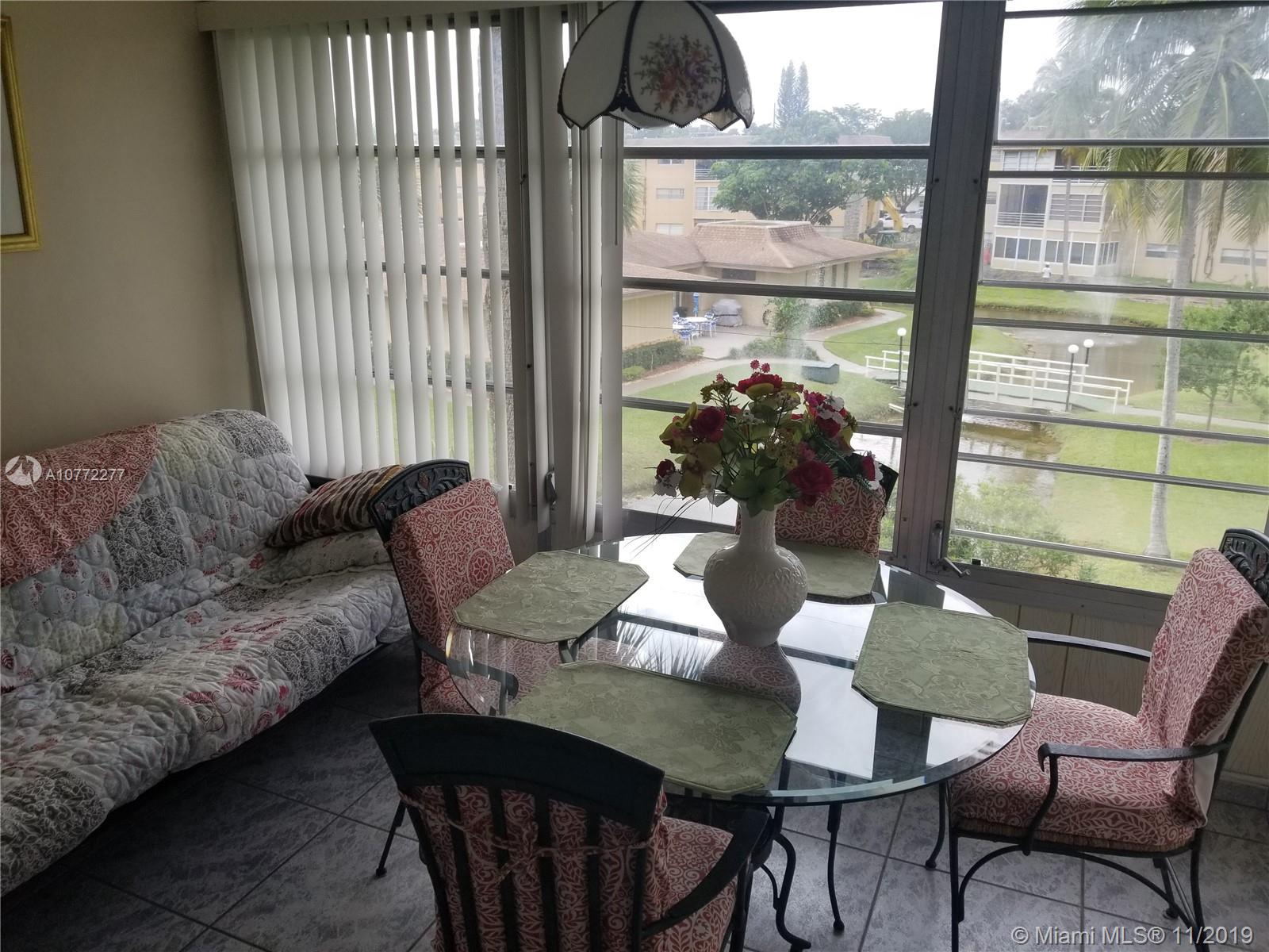 COZY 2/2 CONDO IN FT. LAUDERDALE.  SPACIOUS LAY-OUT.  BEAUTIFUL VIEW FROM ENCLOSED PATIO. ATTRACTIVELY PRICED.  CLOSE TO HIGHWAYS, PLACE OF WORSHIP AND SHOPPING.  ONLY SEASONAL RENTALS ALLOWED.  HOA INCLUSIVE OF WATER AND SEWER IS $328 PER MONTH PLUS AN ADD'L $100 TOWARDS RESERVES (SHOULD BE REDUCED TO $50 IN THE NEAR FUTURE).