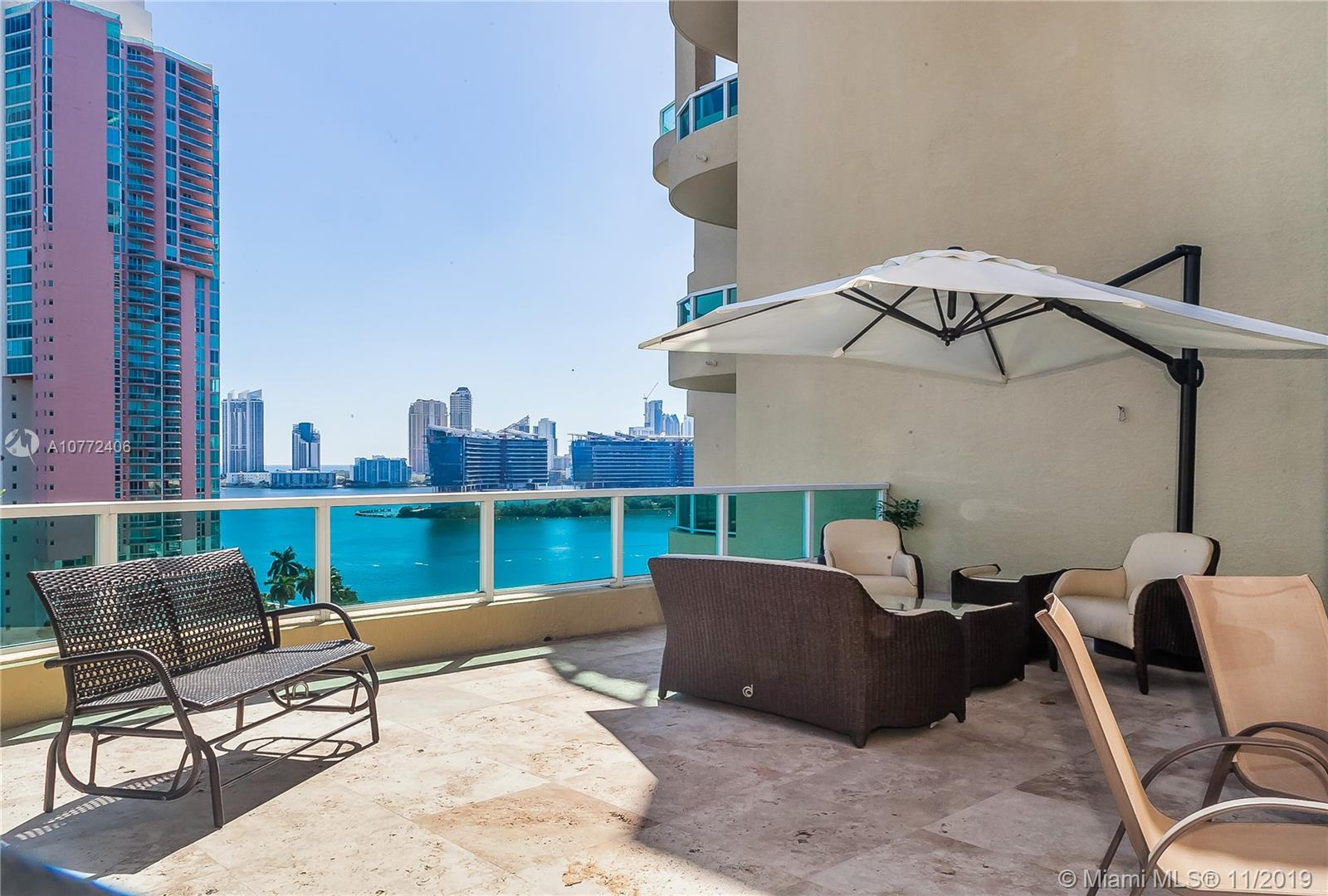 Exquisite and completely remodeled two level Penthouse located in the heart of Aventura. Enjoy breathtaking panoramic views of the ocean, intracoastal, marina, and the Turnberry Golf from the private deck. Sophisticated yet modern stairs connect the first floor to three exquisite bedrooms located on the second floor. Each floor has its own brand new AC. The lower level includes a laundry room, powder room and a very convenient den or office. Fabulous and spacious living and family rooms. Volume ceilings, exquisite finishings, spacious, open, bright, and full of natural light. This masterpiece includes 2 parking spaces and a storage space, which are rarely available. ACs are brand new. Enjoy the most luxurious spa in the heart of Aventura. Close to the Aventura Mall, Sunny Isles Beach,
