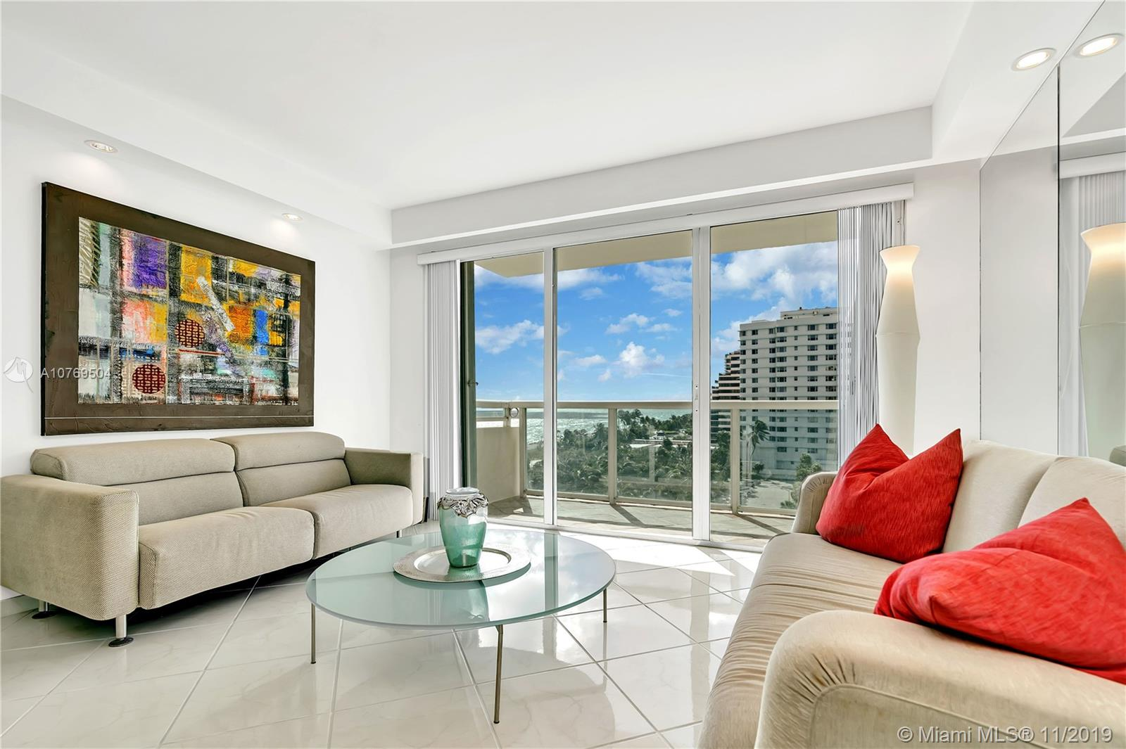 Beautiful and spacious (over 1500 sqft) 2 beds 2 full bath on La Costa , water view from every room, Ocean and Intracoastal views.  Located in the center of Miami Beach, at La Costa 7th floor, w/ ceramic floors. New baths. Easily converted to 3 beds. Over sized rooms w/ 3 walk-in closets.White kitchen cabinets & counter tops & brand NEW SS appliances. Wet bar in a spacious living/dining area. Open balcony, sliding door accordion shutters. Freshly painted,  Unit is offered furnished, w/ storage space &1 assigned parking + extra parking unassigned. Pet friendly, building  offers heated pool, BBQ area, gym,bike room, party room, valet & security. Basic cable & hot water in included in the maintenance. Vacant and ready for occupancy. Can be rented right away. call LA for showings.