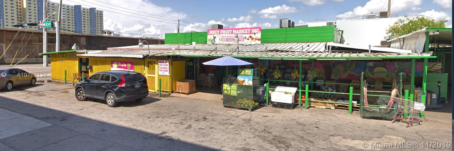 Free Standing Building on a supreme corner on the highly traffic highway of 12th Avenue, with four lanes of traffic  and a corner traffic light. Location, Location, Location. Presently used as a produce retailer and wholesaler. Building is set up with one 30x30x18 refrigeration storage and two refrigerated containers. Property has a functioning commercial kitchen with a beer and wine bar. As added value and potential for success to this property it's located in the hottest upcoming section of Miami, the Allapattah area. Next door is the coming mammoth Wennet Complex Development with over 860,000 sq/ft of residence and 230,000 sq/ft of office space, the new proposed Museum and galleries.  This location is near the airport, Miami River and Miami health district. Owner may consider a sale.