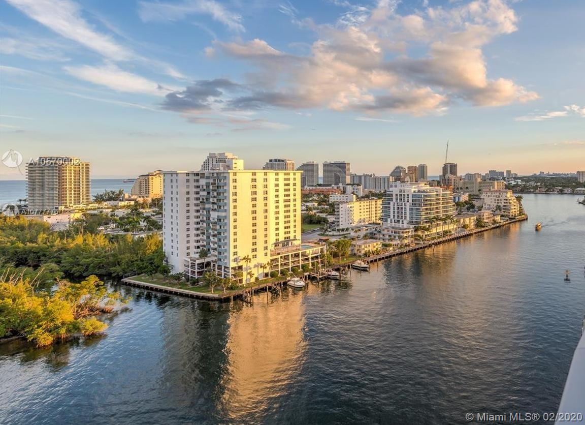 bring your boat! and walk to the beach! Live the Privileges of an Exclusive Condo on the Intracoastal Waterway, no fixed bridges to open ocean access and Walking distance to the beach! fine dining! entertainment and the parks. In a quiet cul-de-sac street, Ft Lauderdale lifestyle.  Spacious 2 master suites w/walking closets, Large Gourmet Kitchen w/breakfast area, utility/ laundry area, brand new AC and water heater tank, renovated.  The building was recently renovated, gorgeous hallways, waterfront, heated swimming pool, GYM, boat dock available up to 35 ft boat for $4.75/lineal ft/month, Pet-friendly up to 50 lbs. Boater's Paradise. Avail year lease $4,600.00 per month