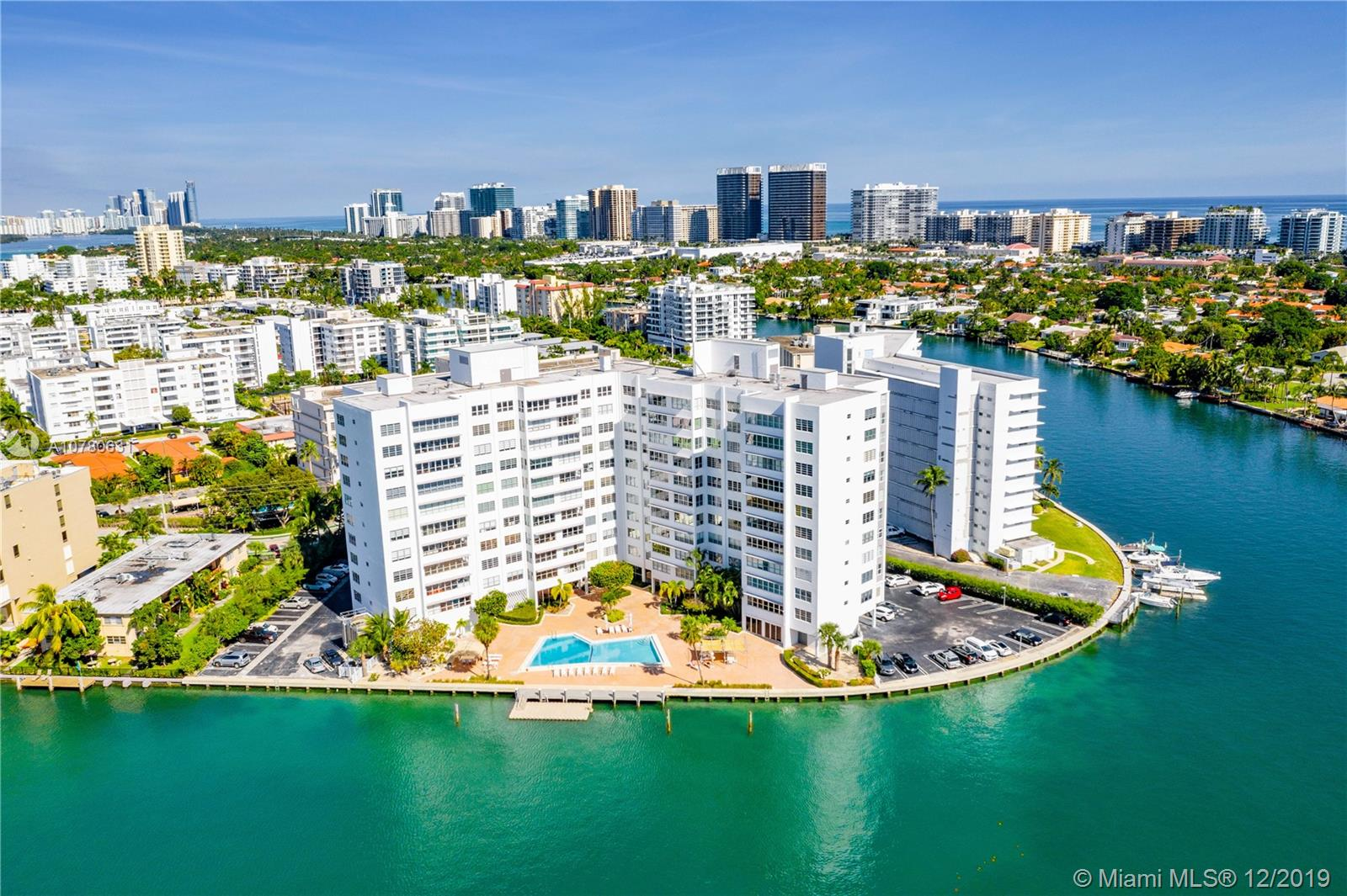 Enjoy stunning views of the Indian Creek Waterways and Golf Course from this upgraded two bedroom, one and one-half bath in recently-renovated Blair House located in a premium location: the most southern point of Bay Harbor Islands. This unit has many upgrades including impact windows, a new open kitchen, room to install a washer and dryer, upgraded bathrooms and great closet space. There is one parking deeded and additional parking available. Blair House, a modern 11-story building with 76 units, went through renovations including a new waterfront gym, a bay-front dock and pool and updates to the common areas, lobby, hallways, façade and more. A/C and hot water is included in the maintenance fees. The condo is close to the beach, Bal Harbour shops, parks, restaurants, houses of worship.