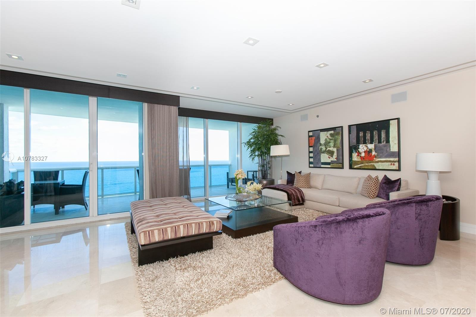 Super luxury Trump Hollywood. Panoramic direct Ocean views. 3 beds 3.5 baths, family room, Gourmet European kitchen w/ high quality Miele and Sub-Zero appliances. Private elevator entrance, 11ft ceilings, floor to ceiling glass windows & spacious terrace. Spectacular 3,395 SF residence, professionally designed and decorated by Steven G, Sold furnished! featuring most high-end finishes. No expense spared. Direct Oceanfront flow thru unit w/ due east & west terrace views. Breathtaking views in every direction. Comes with 1 storage unit. Shows like a model! Finest Finishes! Stunning! Exquisite Lobby, Unsurpassed Amenities incl. Breakfast Room, Wine + Cigar Lounges, Fitness Center,Spa,Massage Rooms,Theater,Party Room,Caterer's Kitchen,Pool + Beach Service,24 hr Security,Valet,Concierge.