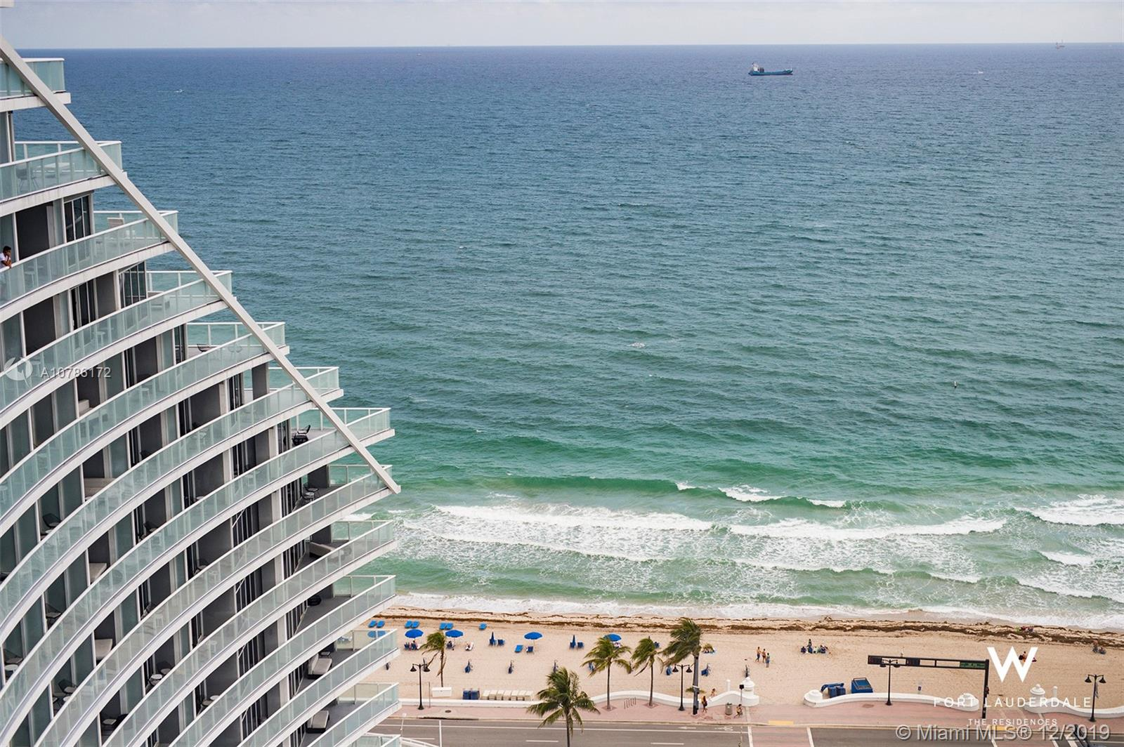 Oceanfront. The W Fort Lauderdale.  Turnkey furnished. Ocean, bay and city views.  Luxury hotel amenities.  Need I say more?  This two-bedroom two-bath unit is a stylish and practical venue for all the good times you, your guests, or your tenants, could ever hope to enjoy!! Located in the heart of Fort Lauderdale Beach's renaissance, the venue offers hotel amenities, including multiple acclaimed Stephen Starr restaurants, a sushi bar, poolside grill and The Living Room Lounge, heated swimming pool, private VIP salt water pool, spa, fitness center, lounges and valet parking.  707 is a south east corner unit with open layout, full kitchen, elegant master suite and lots of room for entertaining and overnight guests.  Currently in hotel program, but can be owner occupied as per your needs.