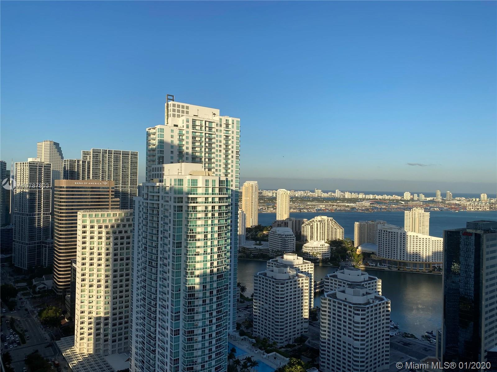 Own this amazing unit at exclusive 1060 Brickell !! This spacious apartment with 2 bedroom, plus Den and 3 full baths,  offers great spaces for the entire family.  Enjoy the best skyline and bay views from the 42nd floor, siting in the terrace and been amazed by the sunsets and sunrises . State of the art   Italian kitchen cabinets, quartz counter top, stainless steel appliances. Amenities include pools, Jacuzzis, BBQ area, full gym, complete spa, children pay area, 24-h concierge and valet service. Walking distance to the finest restaurants, shops and malls.