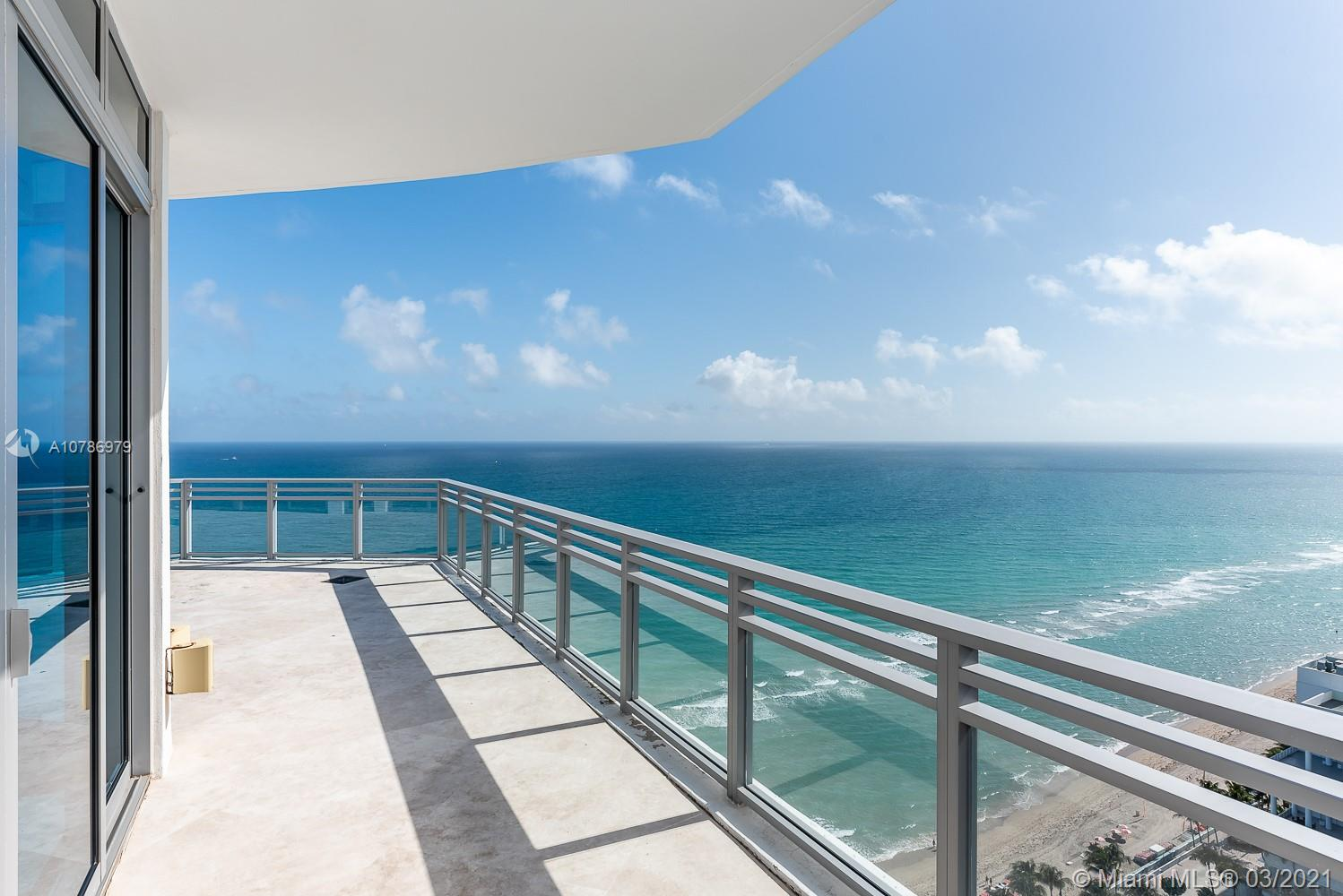 A sky-high penthouse on the Atlantic Ocean offering nearly 5,000-SF of interiors and +/-2,500-SF of wrap-around terraces that are a real dream for entertainers! Wake-up to panoramic views and sunrises and enjoy five-star amenities offered from the Diplomat Resort next door that will make every day feel like a vacation. This luxury residence features an open concept floor plan with soaring 12-foot ceilings, 3 terraces, state-of-the-art kitchen, upgraded luxurious baths, and sumptuous master suite with hers/his closets. Amenities include pool with spa, fitness center barbeque, juice bar, beach service, theatre, kitchen catering, room service to 8 restaurants, concierge, and much more!