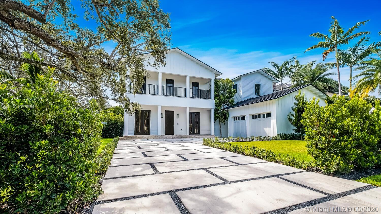 Handsome, heart-of-High-Pines Modern Farmhouse riffs on the classic Key West vernacular in a timeless example of form follows function thruout this gracious, custom, Mocca-built home's 6,056 SF. New 2020 construction, smart features & top-drawer materials make life a breeze. Metal roof, impact windows/doors, European white oak plank floors thruout. Flr 1: Enjoy open pool/garden views from the eat-in kitchen outfitted w/Wolf & Subzero appliances. Generously scaled living, dining, family rms; guest & staff suites; .5 bath; 2-car garage; covered patio. Flr 2: lge Master suite w/His&Her walk-ins, lavish bath, office & balcony; Jr Master; Jack & Jill; laundry/kitchenette. All bdrms en suite. Live elegantly, simply & practically in Miami-Dade County's most charming, walkable, close-in community.